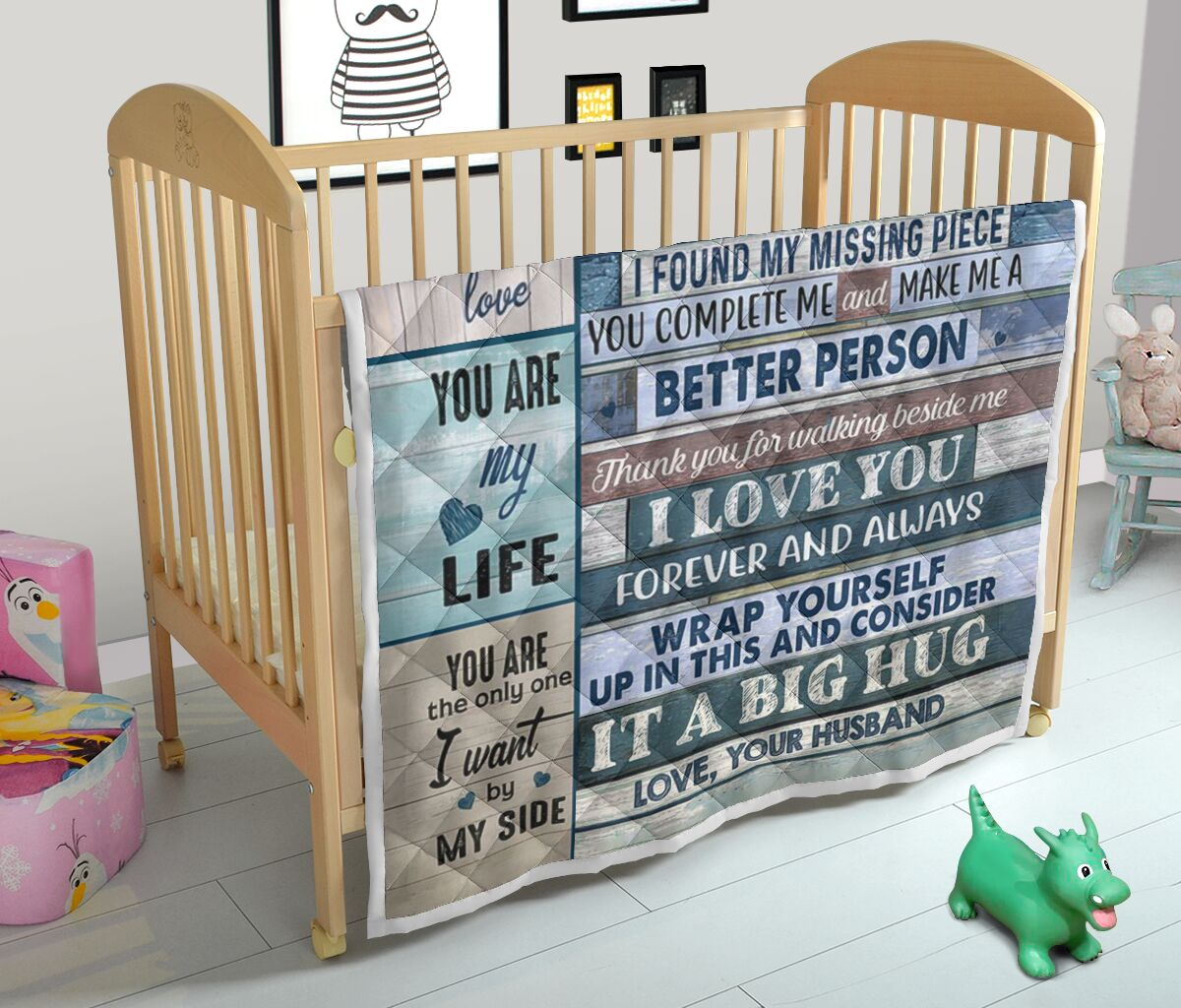 To my wife love your husband quilt queen