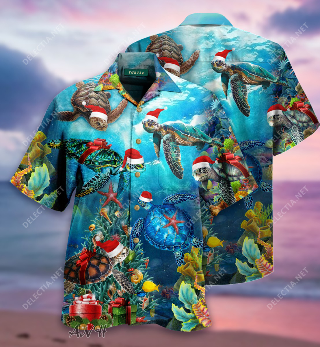 Turtle santa hat awesome christmas unisex hawaiian shirt