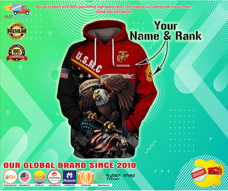 US marine corps personalized custom name rank 3d hoodie - LIMITED EDITION