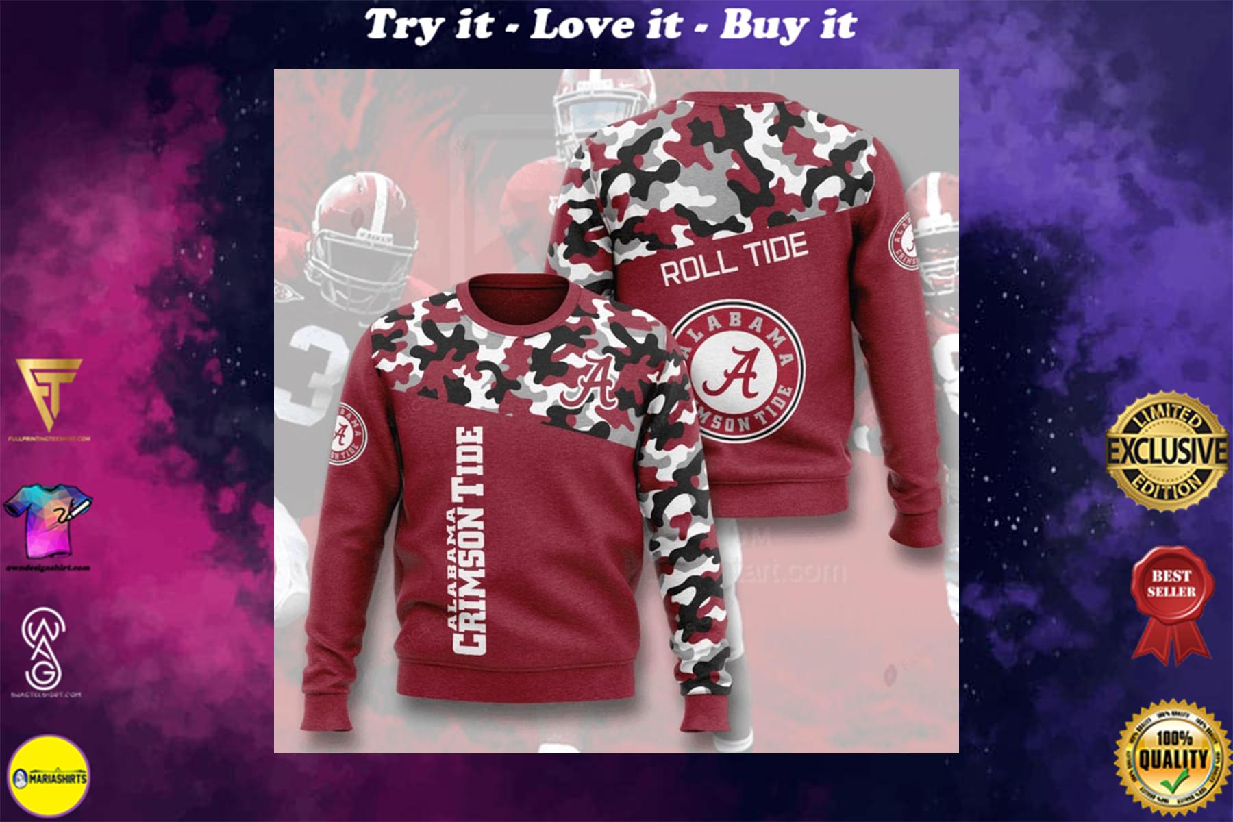 [highest selling] alabama crimson tide football camo full printing ugly sweater - maria