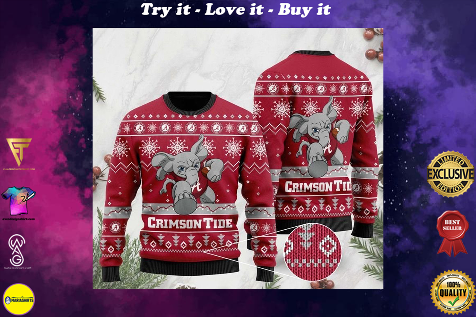 [highest selling] alabama crimson tide football christmas ugly sweater - maria