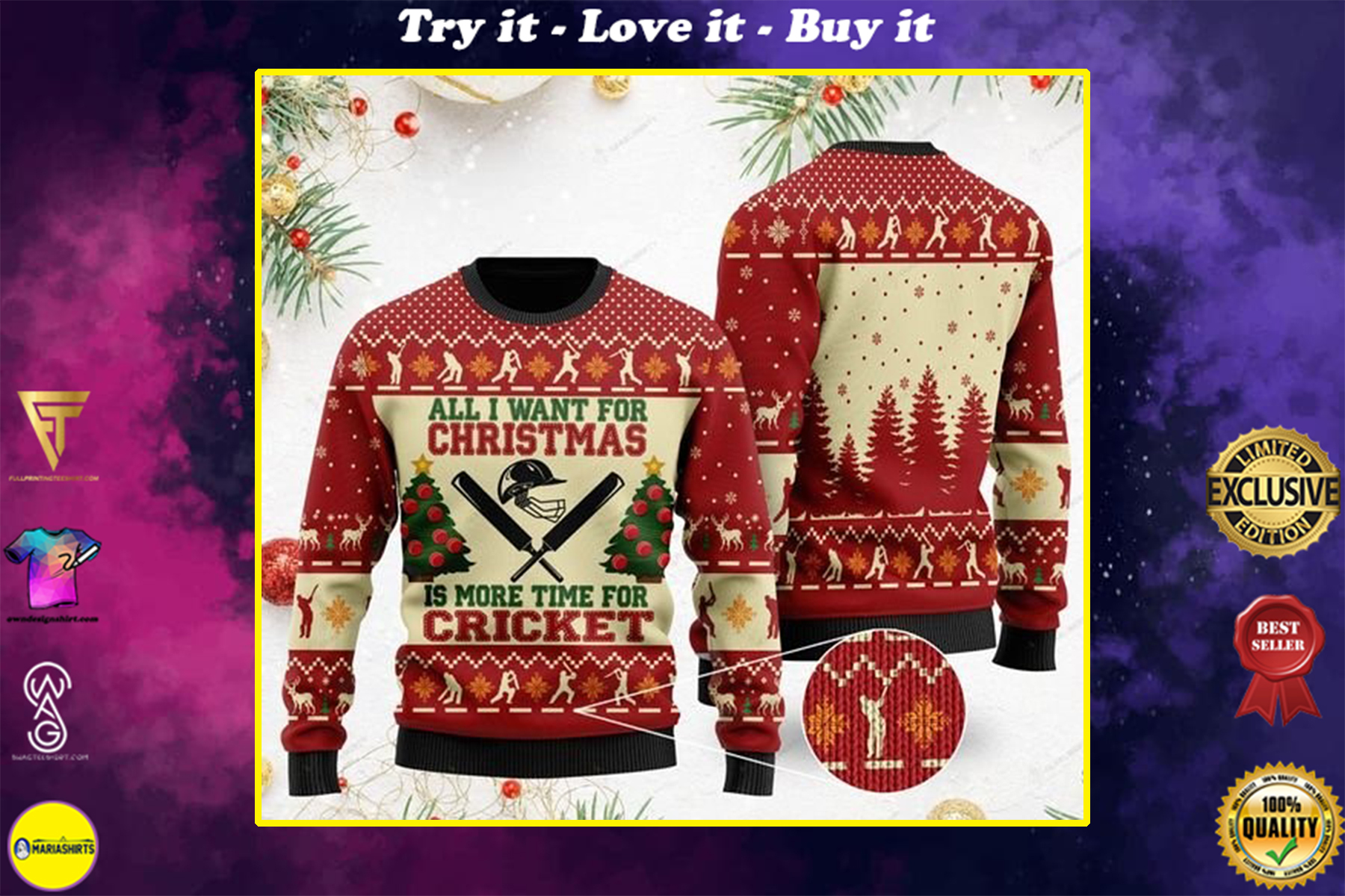 [highest selling] all i want for christmas is more time for cricket christmas ugly sweater - maria