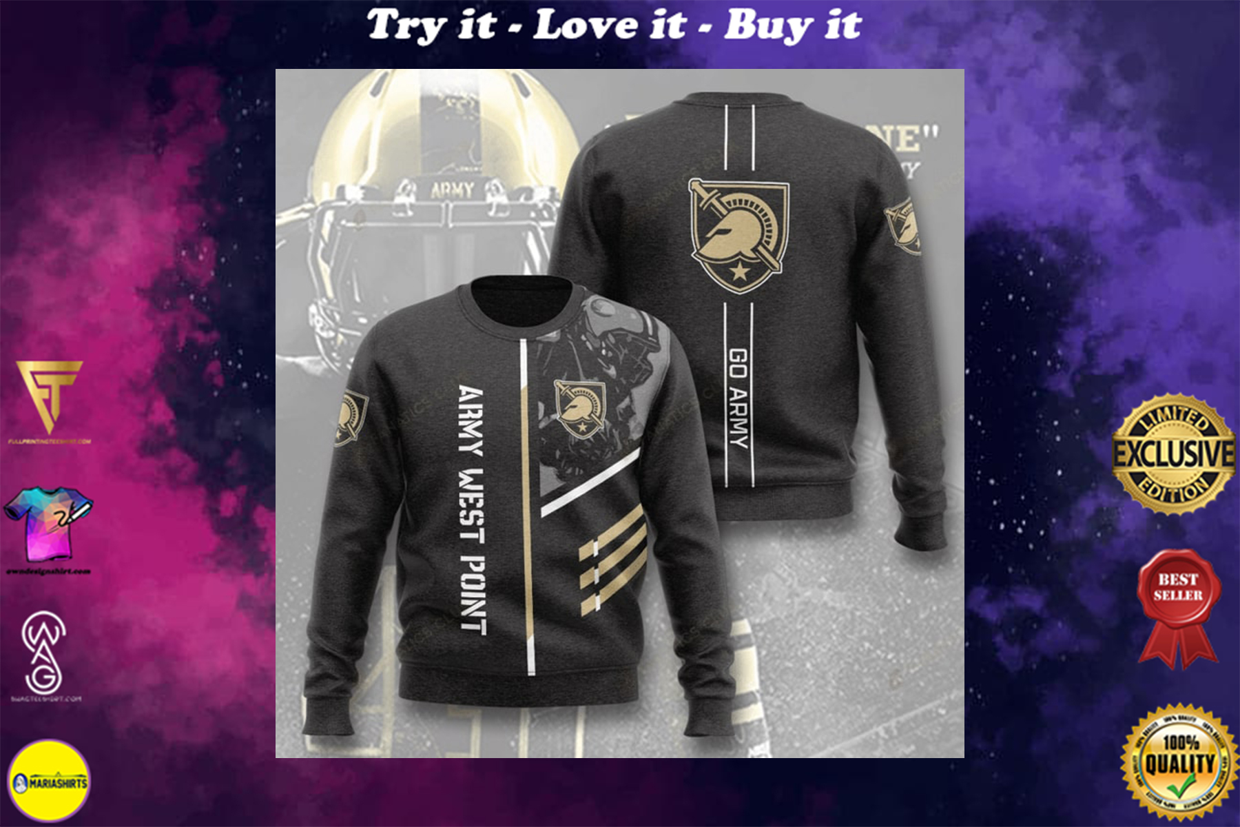 [highest selling] army black knights football army west point full printing ugly sweater - maria