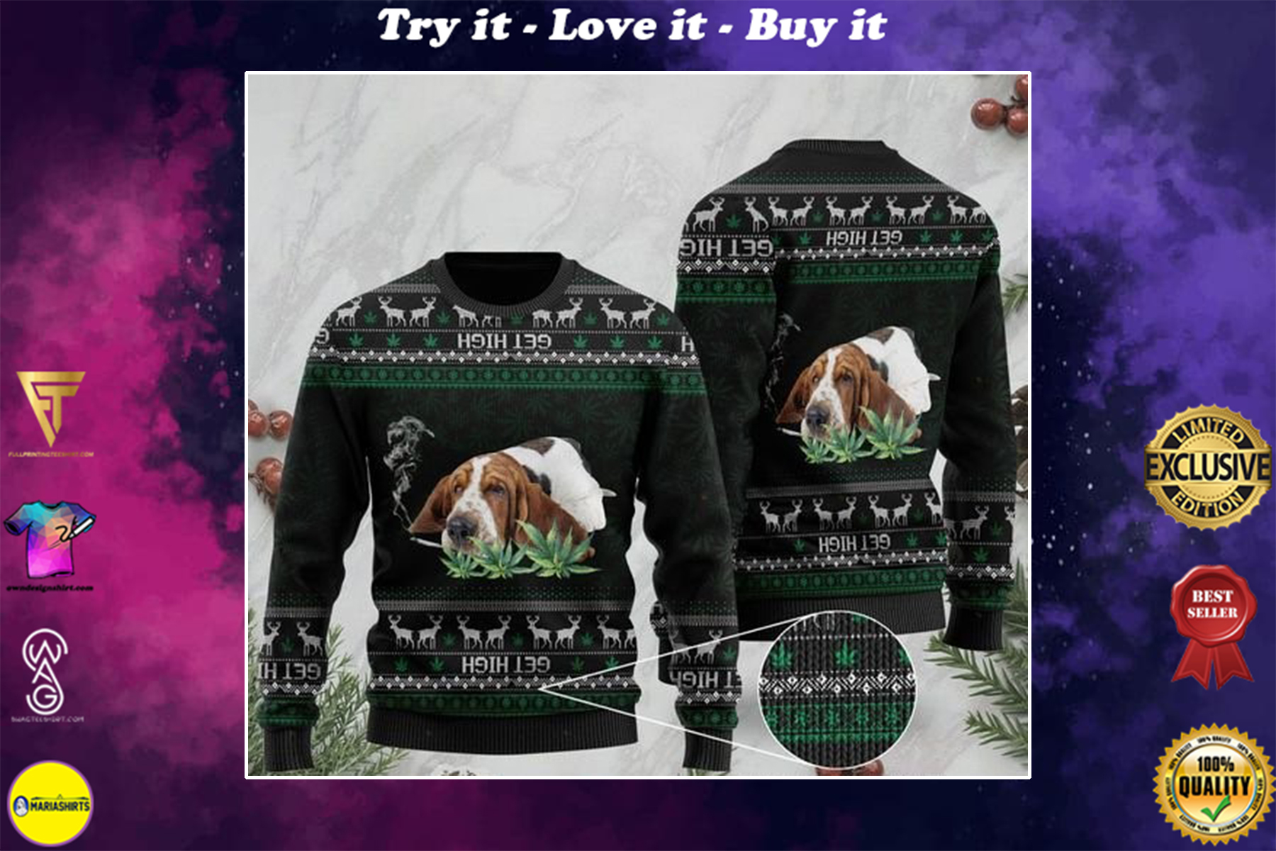 [highest selling] basset hound get high cannabis ugly sweater - maria