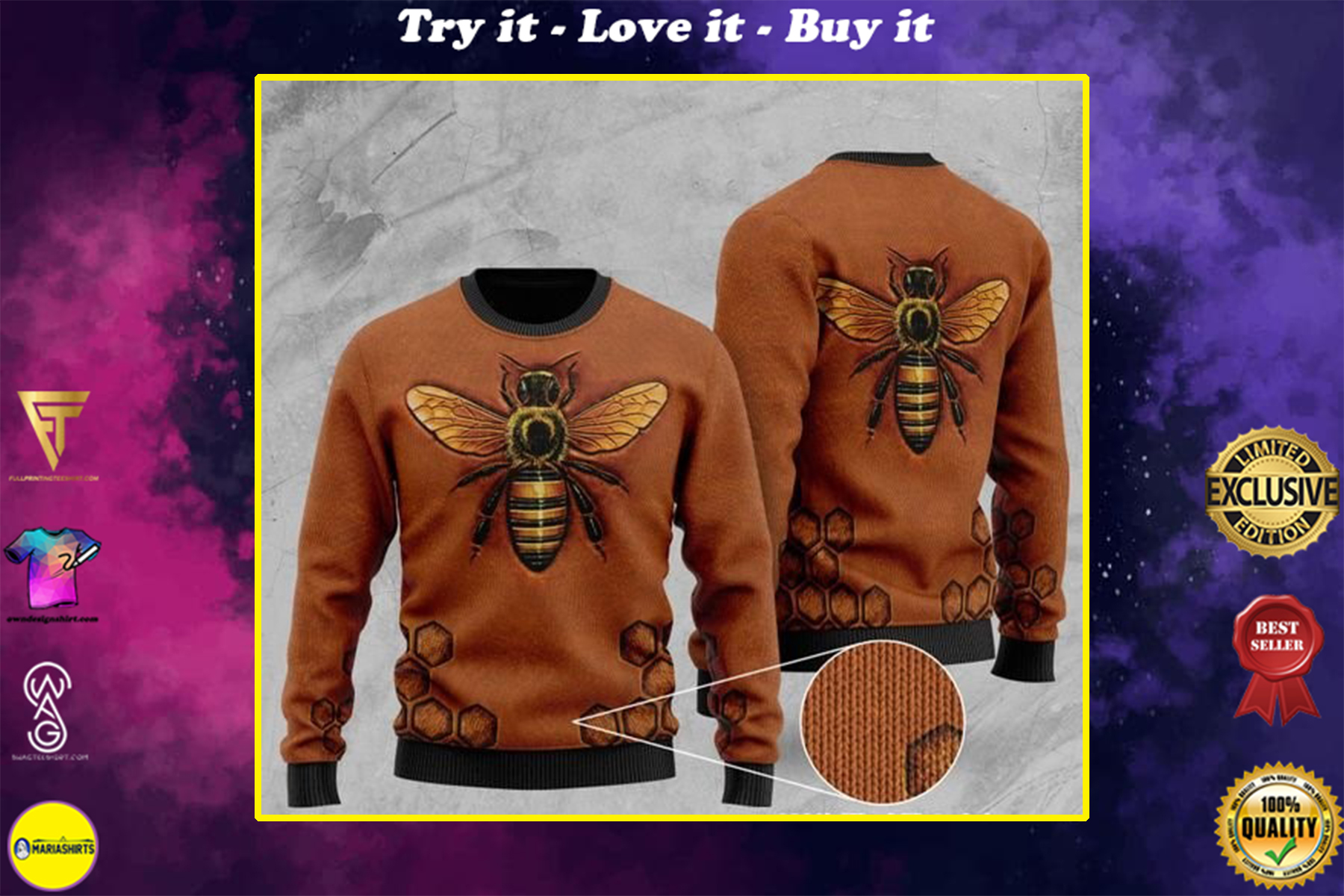 [highest selling] bee pattern full printing christmas ugly sweater - maria
