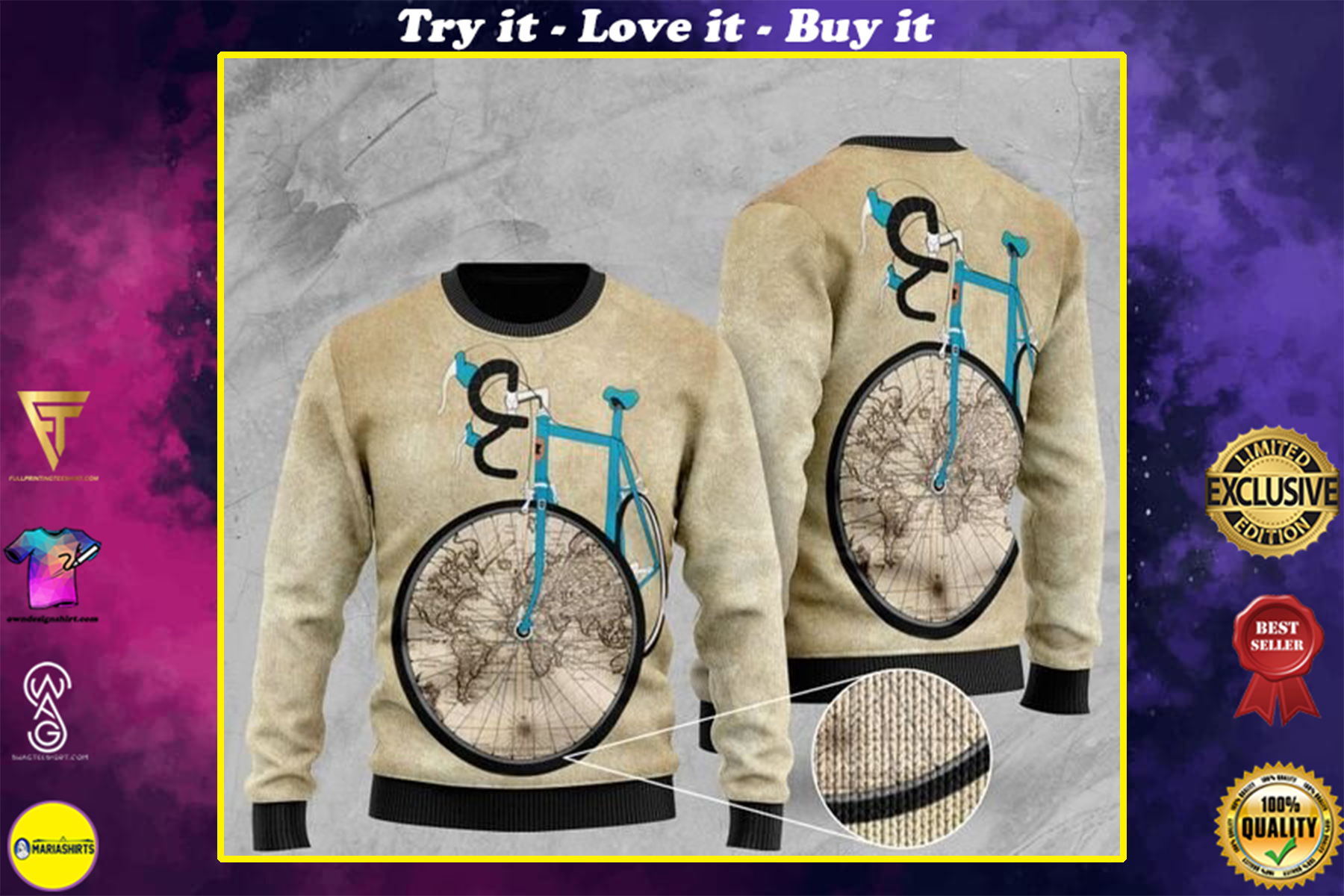 [highest selling] bicycle and world map pattern full printing christmas ugly sweater - maria
