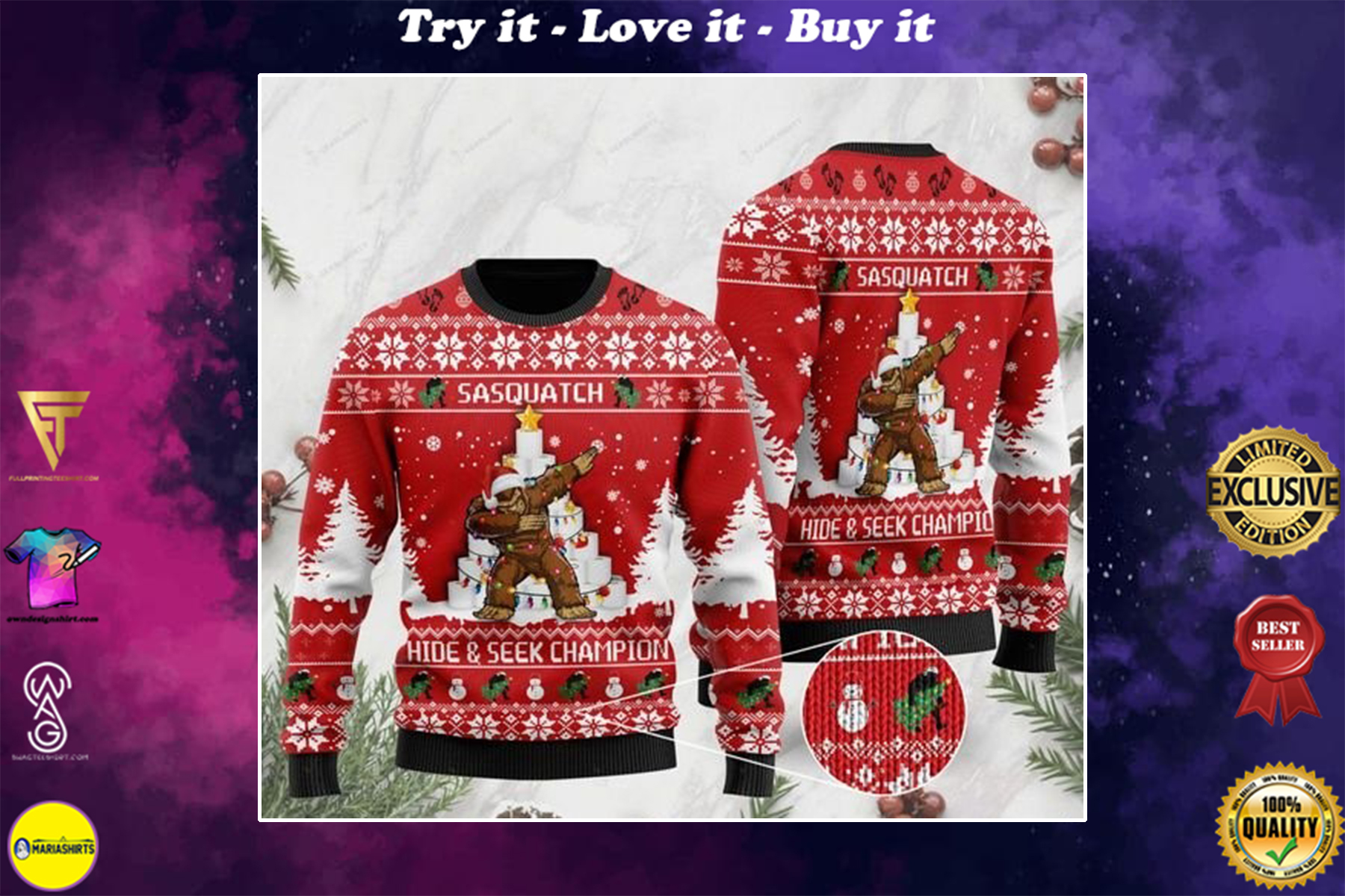 [highest selling] bigfoot and toilet paper sasquatch hide and seek champion ugly sweater - maria