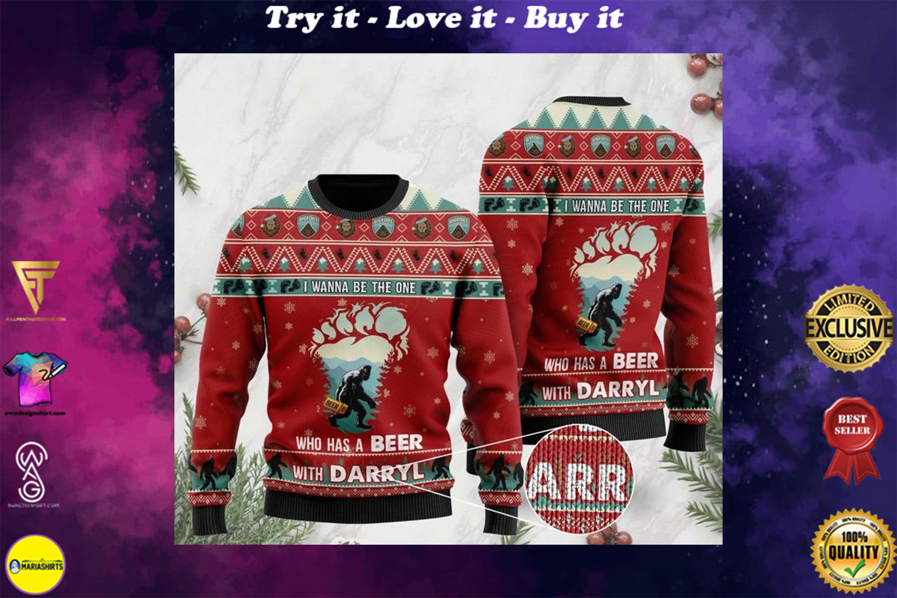 [highest selling] bigfoot i wanna be the one who has a beer with darryl christmas ugly sweater - maria
