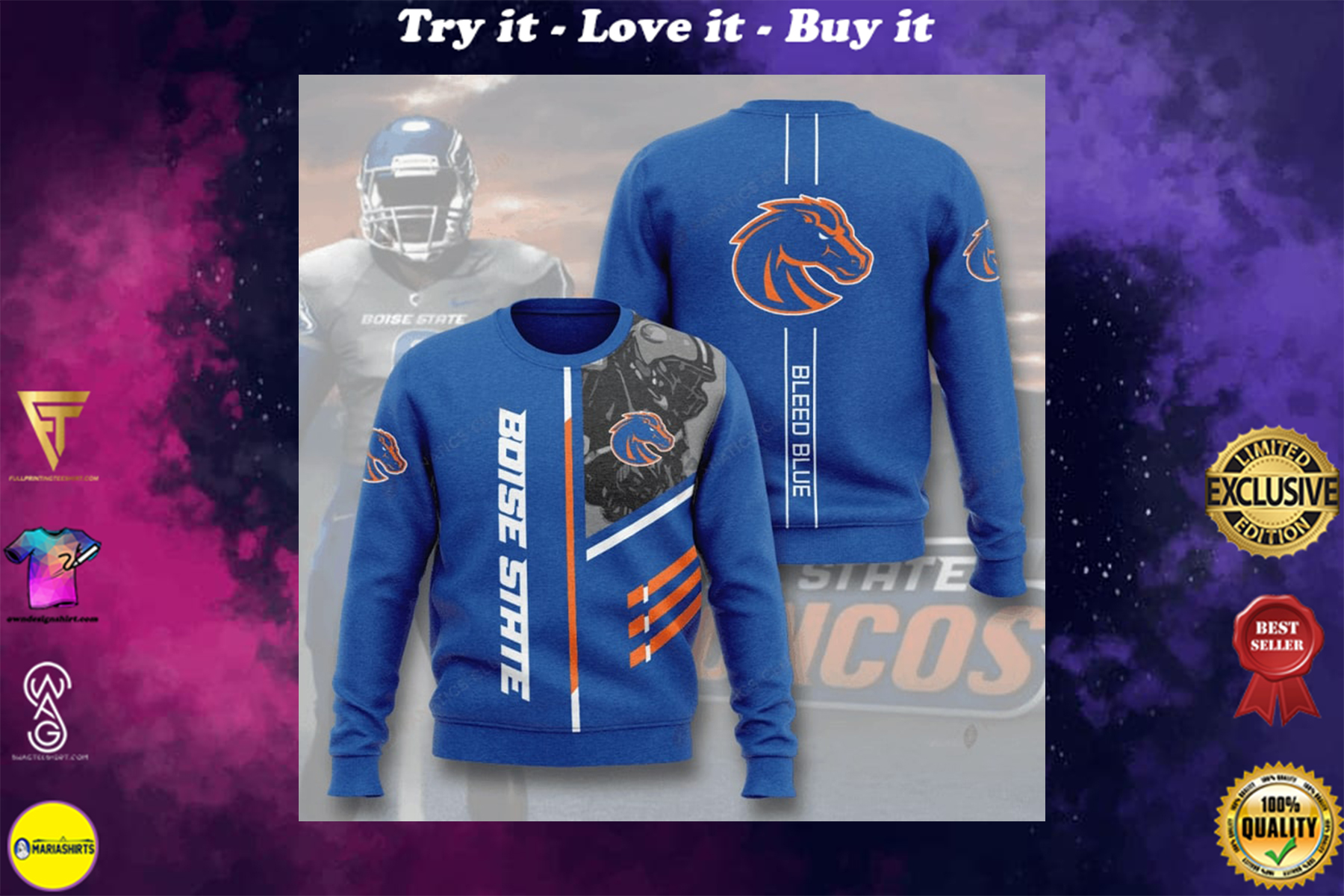 [highest selling] boise state broncos bleed blue full printing ugly sweater - maria