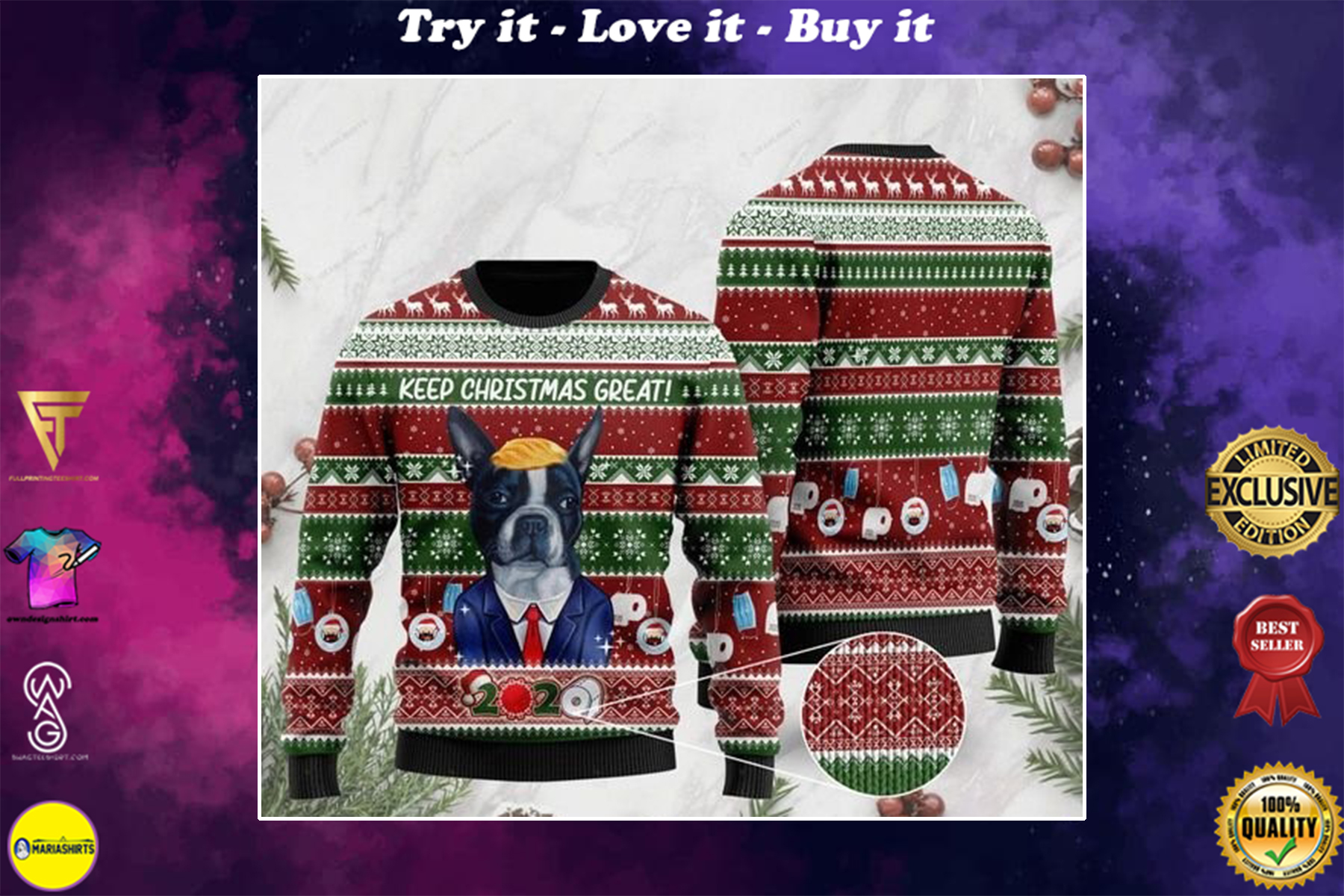 [highest selling] boston terrier keep christmas great full printing ugly sweater - maria