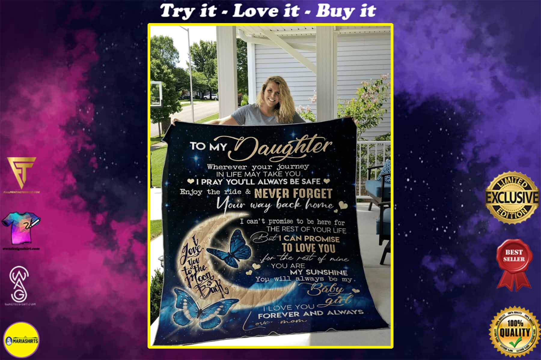 [highest selling] butterfly to my daughter i love you to the moon and back blanket - maria