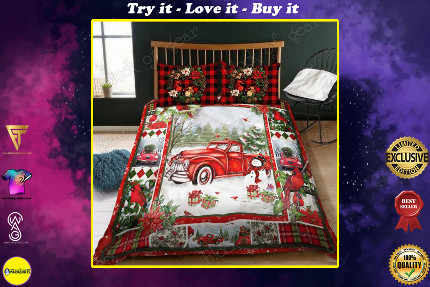 [highest selling] christmas red truck snowy cardinals full printing bedding set - maria