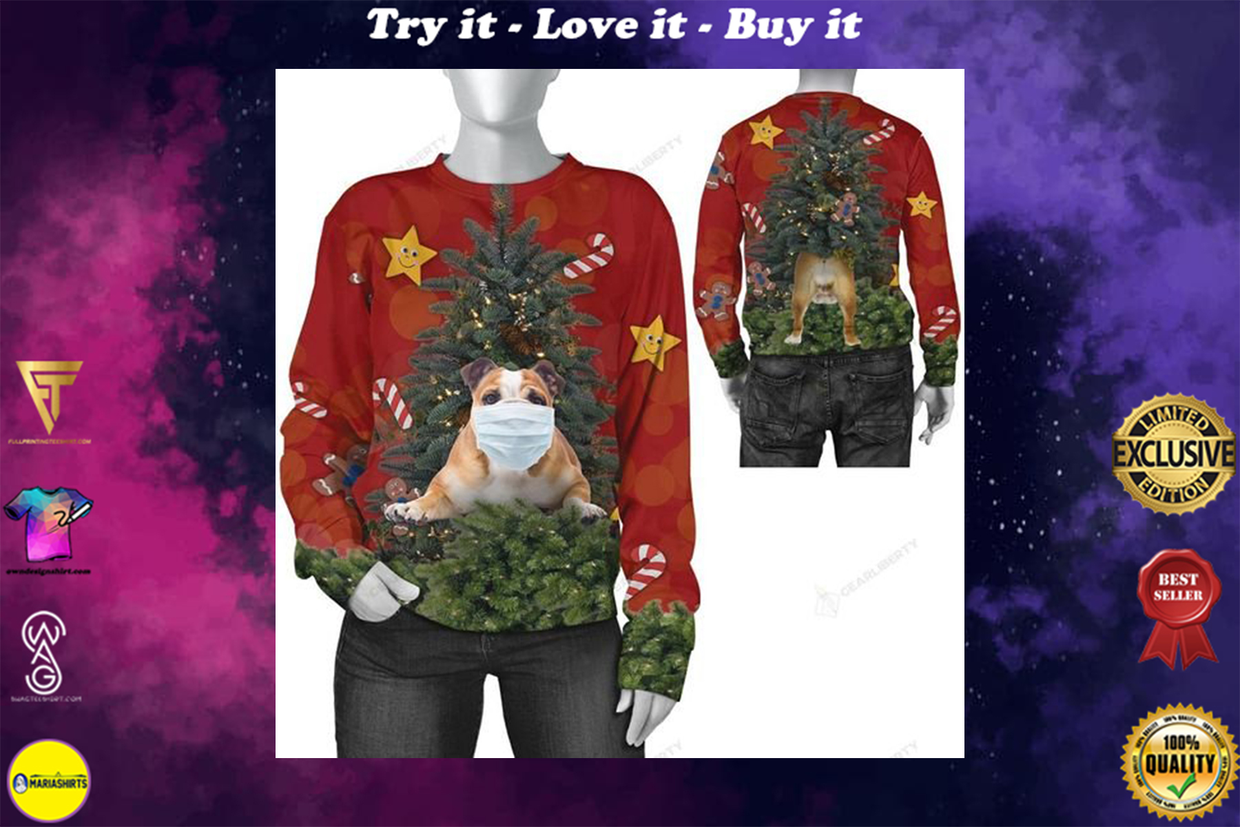 [highest selling] christmas time bulldog with face mask ugly sweater - maria