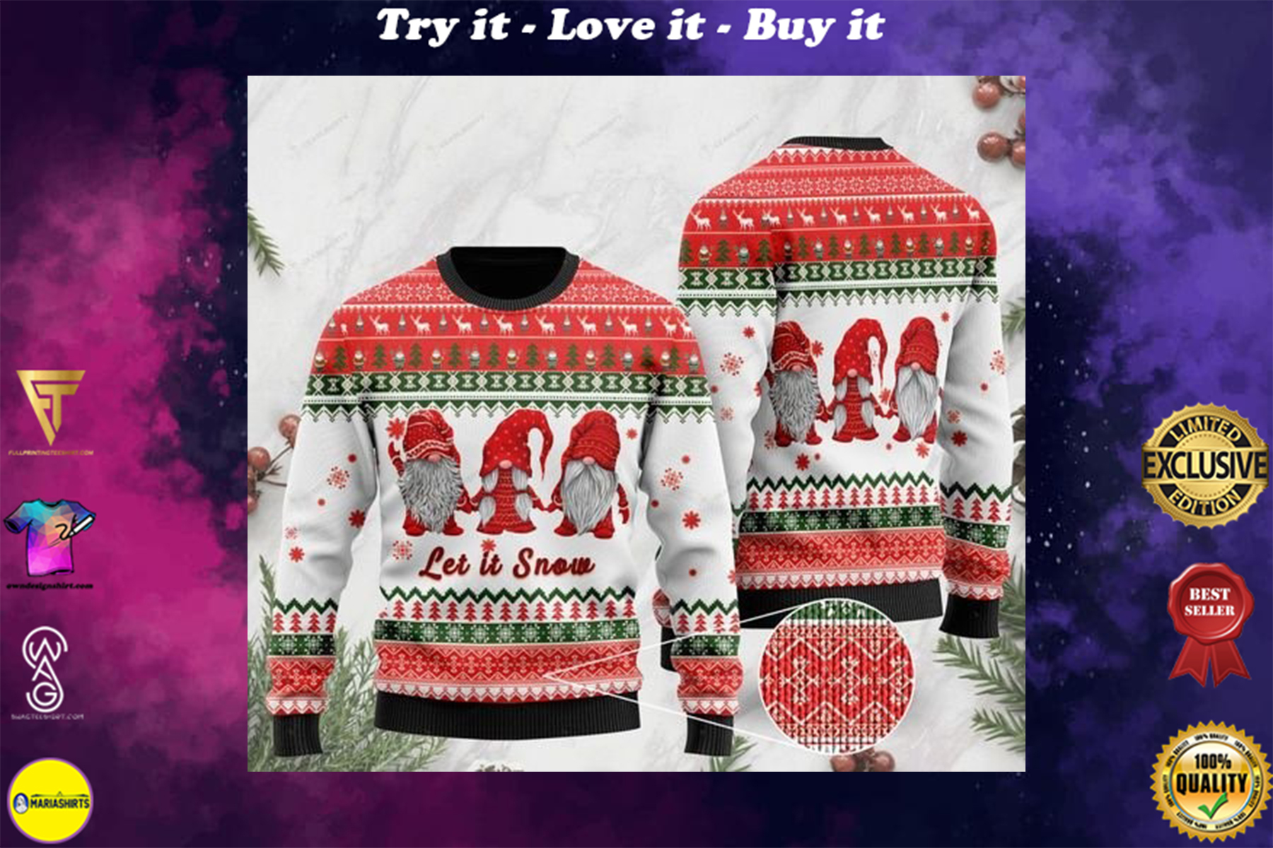 [highest selling] christmas time let it snow garden gnomes ugly sweater - maria