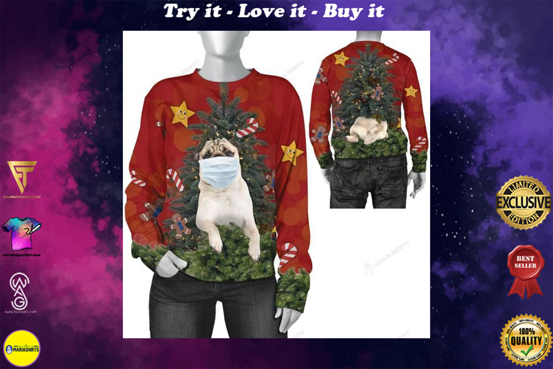 [highest selling] christmas time pug with face mask ugly sweater - maria