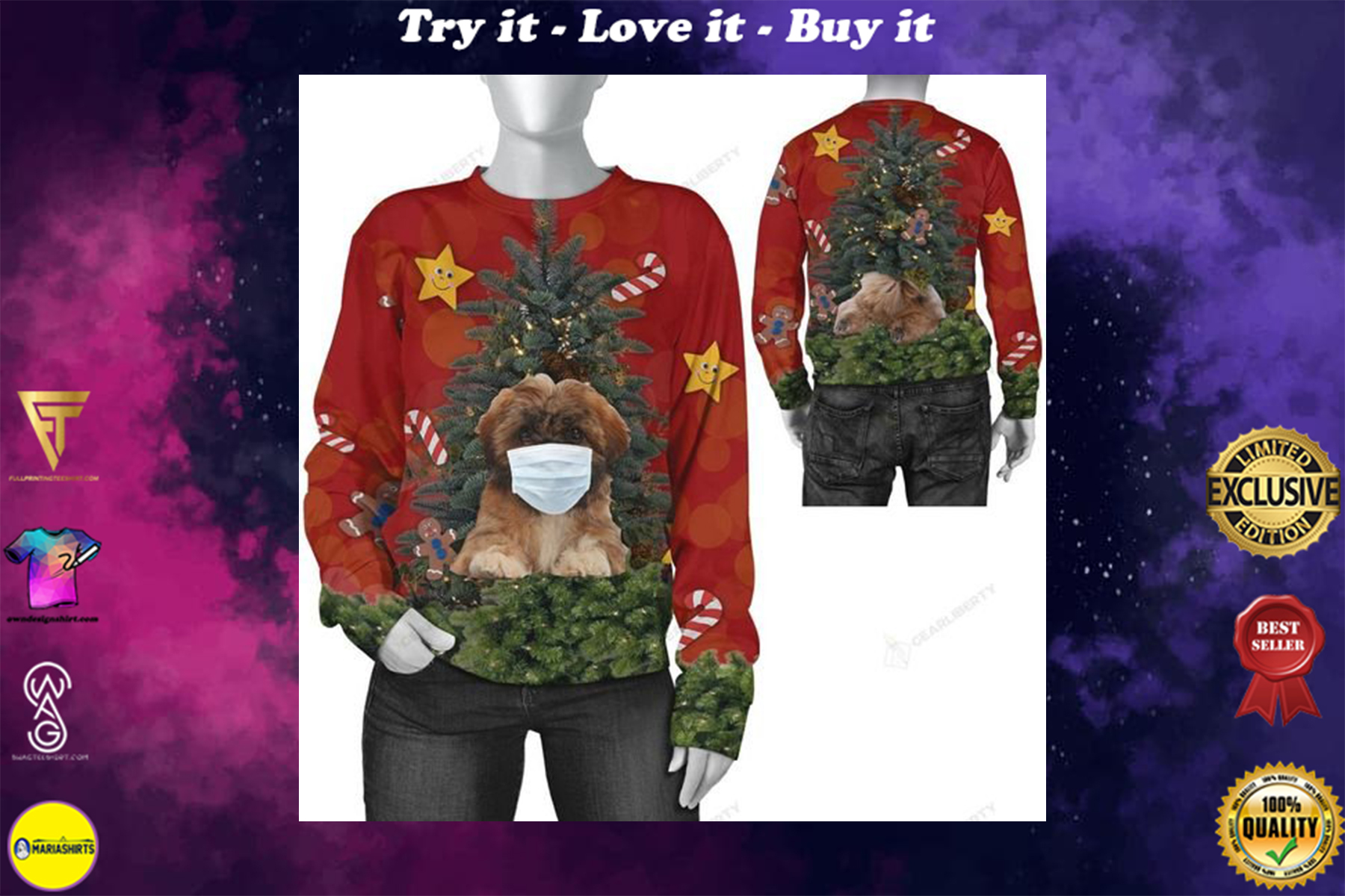 [highest selling] christmas time shih tzu with face mask ugly sweater - maria