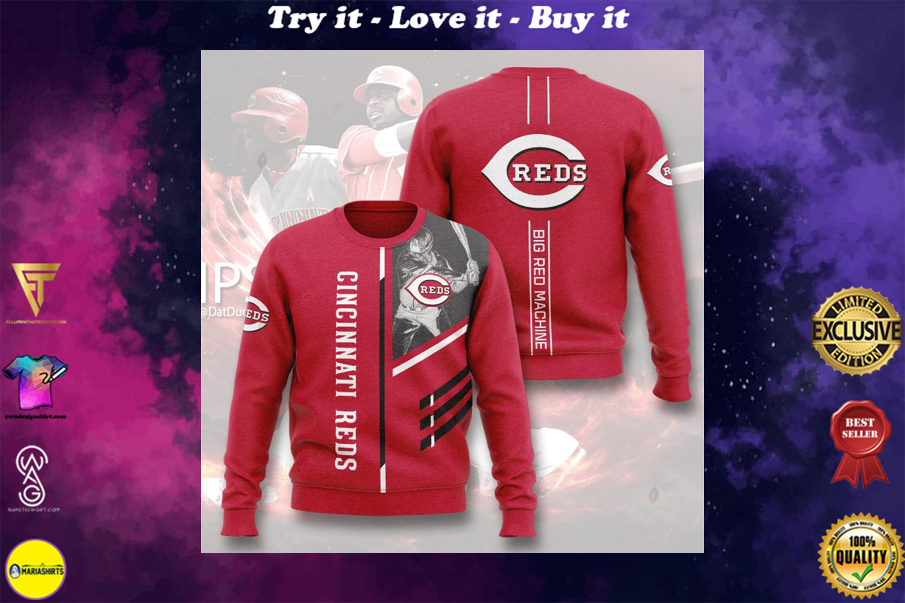[highest selling] cincinnati reds big red machine full printing ugly sweater - maria