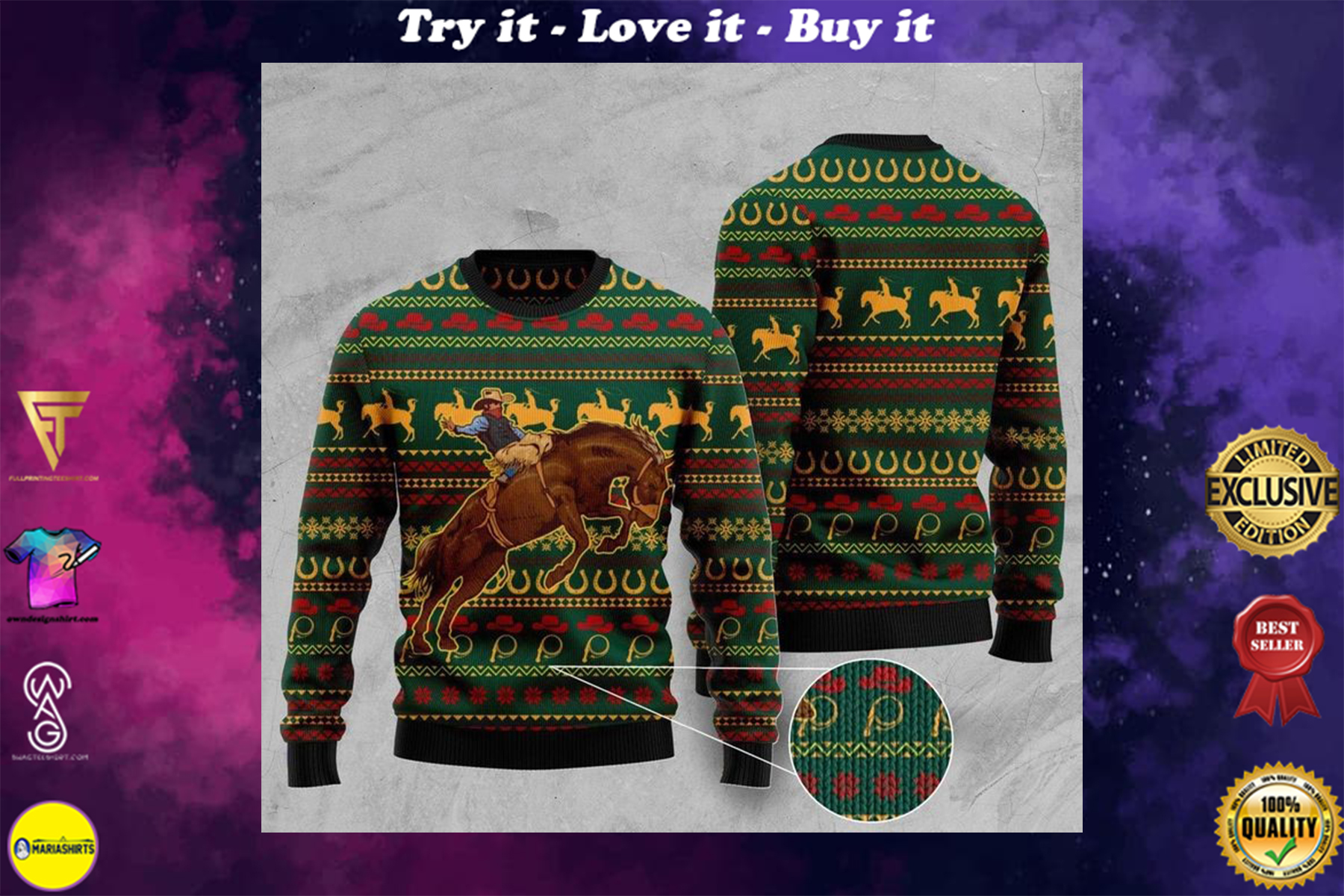 [highest selling] cowboy christmas full printing ugly sweater - maria