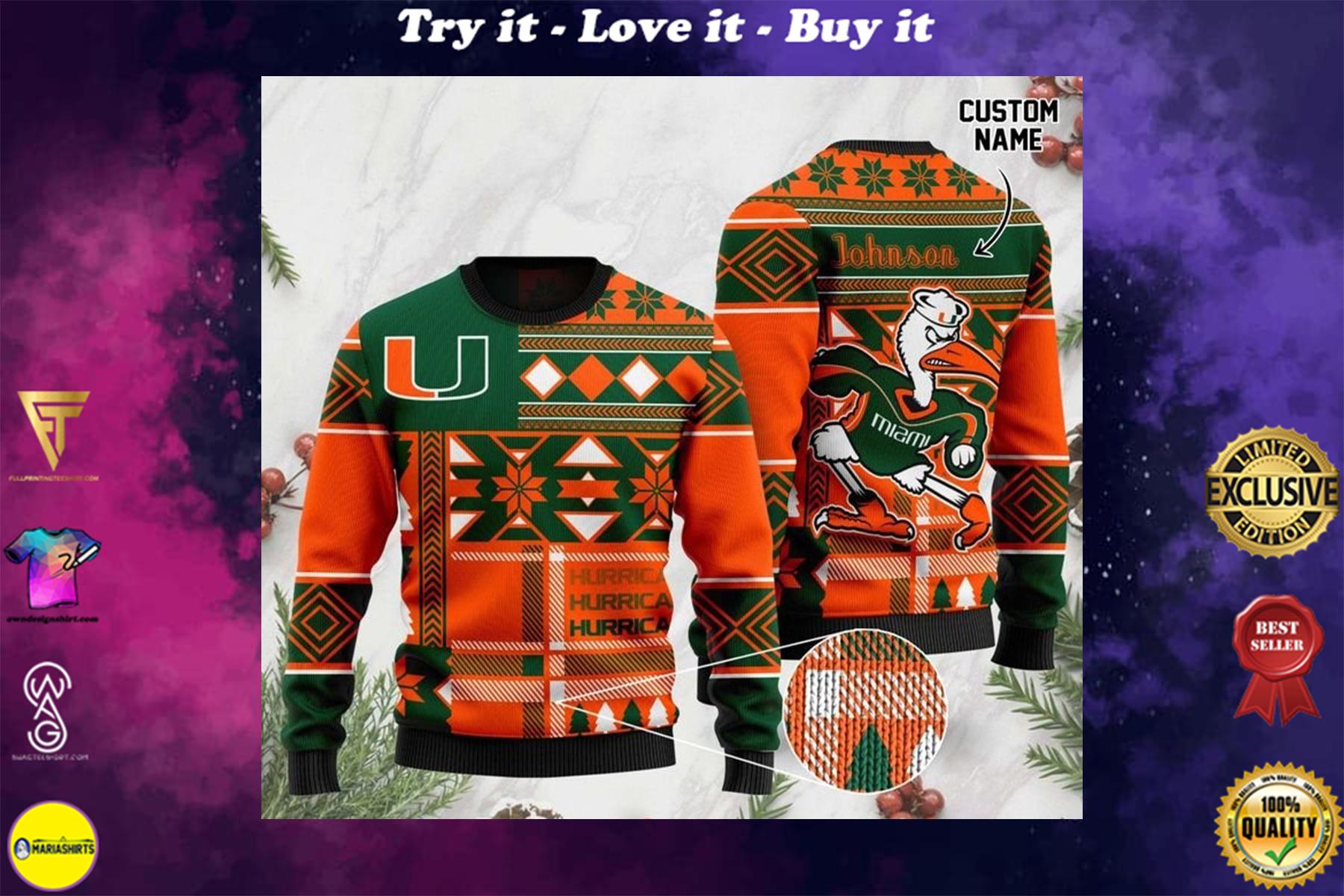 [highest selling] custom name miami hurricanes football christmas ugly sweater - maria