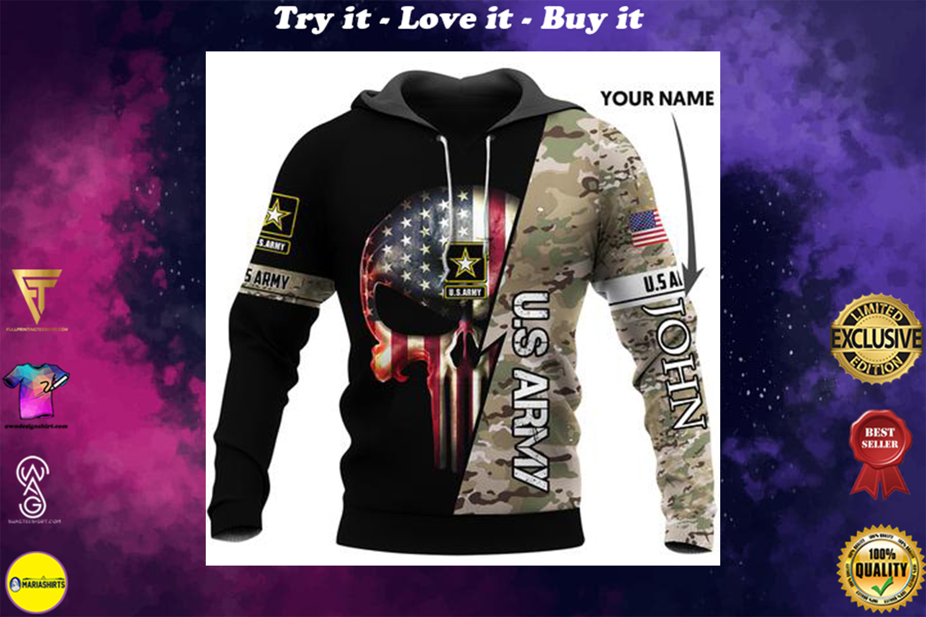 [highest selling] custom name us army skull american flag camo full over printed shirt - maria