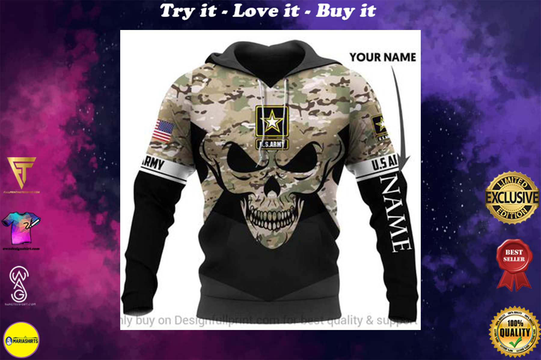 [highest selling] custome name us army skull camo full over printed shirt - maria