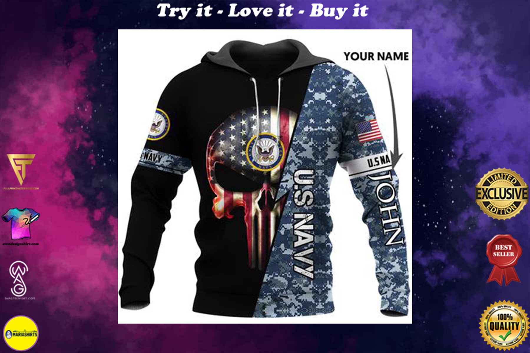 [highest selling] custom name us navy skull american flag camo full over printed shirt - maria
