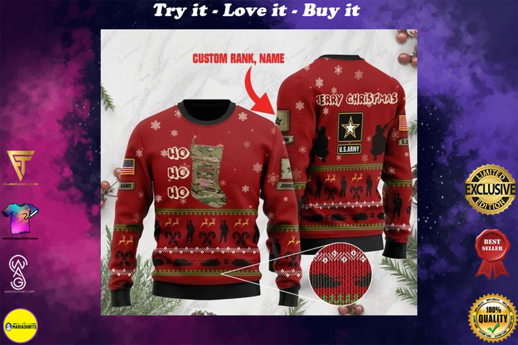 [highest selling] custom rank and name us army ho ho ho christmas time full printing ugly sweater - maria