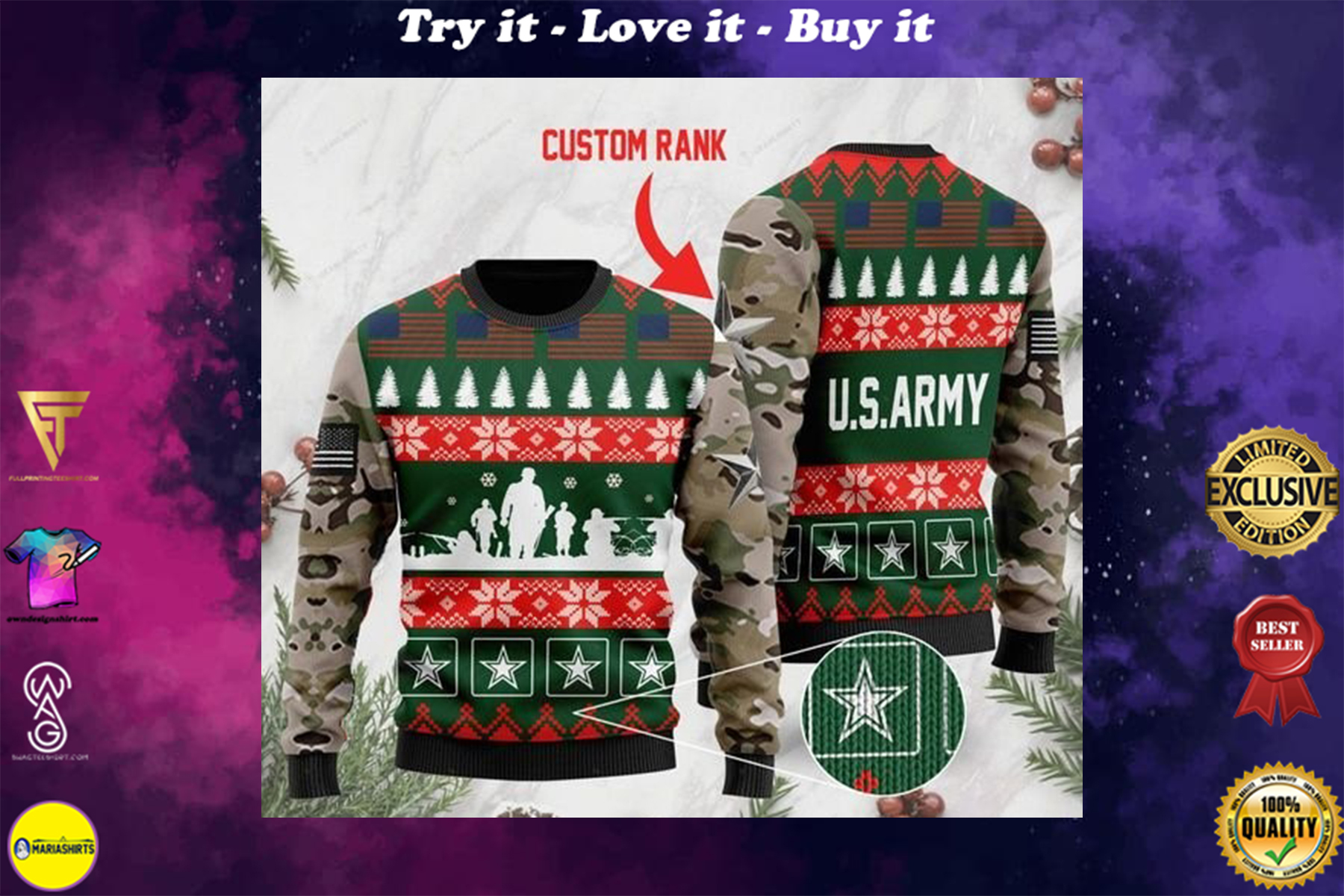 [highest selling] custom rank the united states army full printing ugly sweater - maria