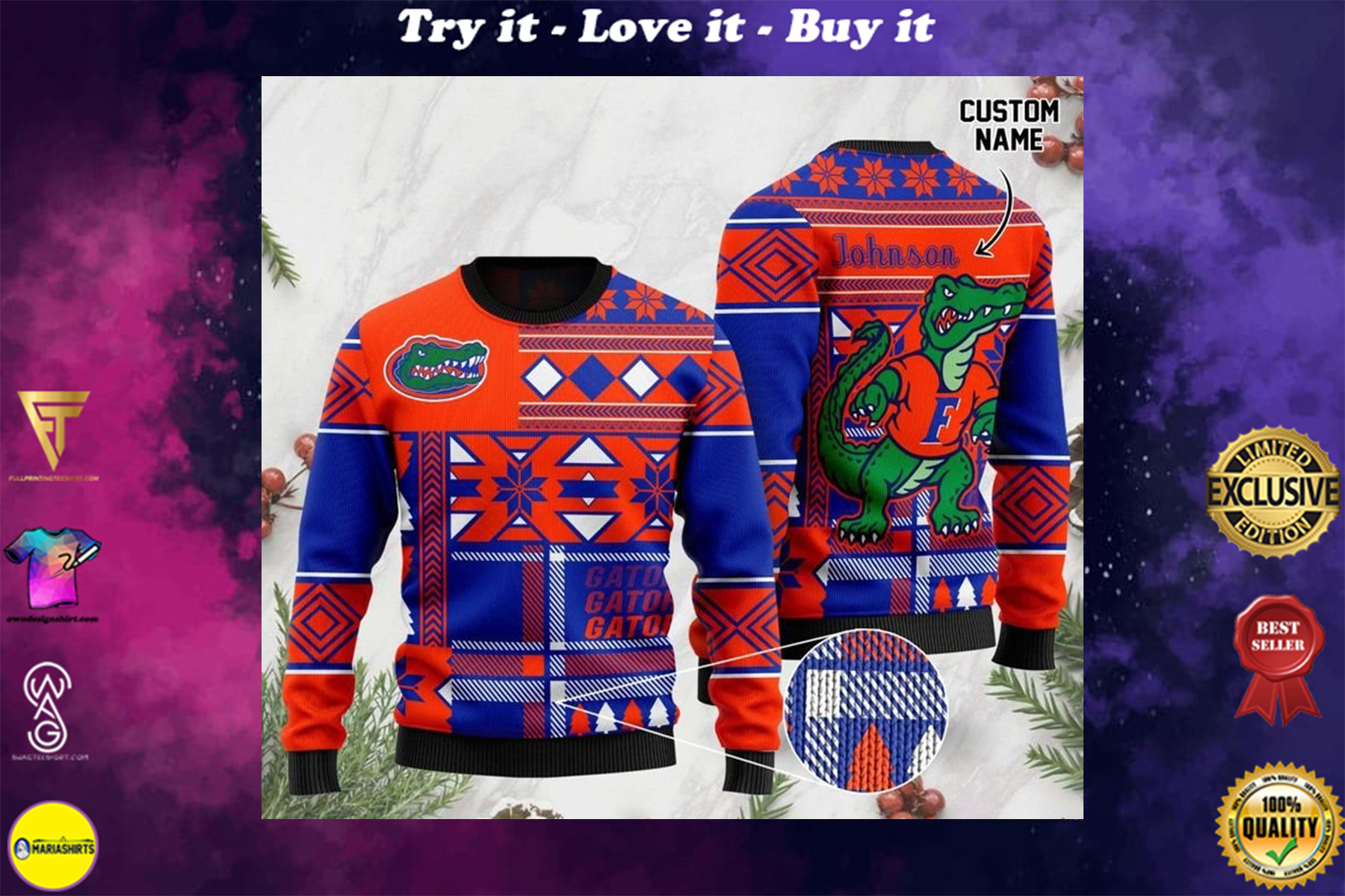 [highest selling] custome name florida gators football christmas ugly sweater - maria