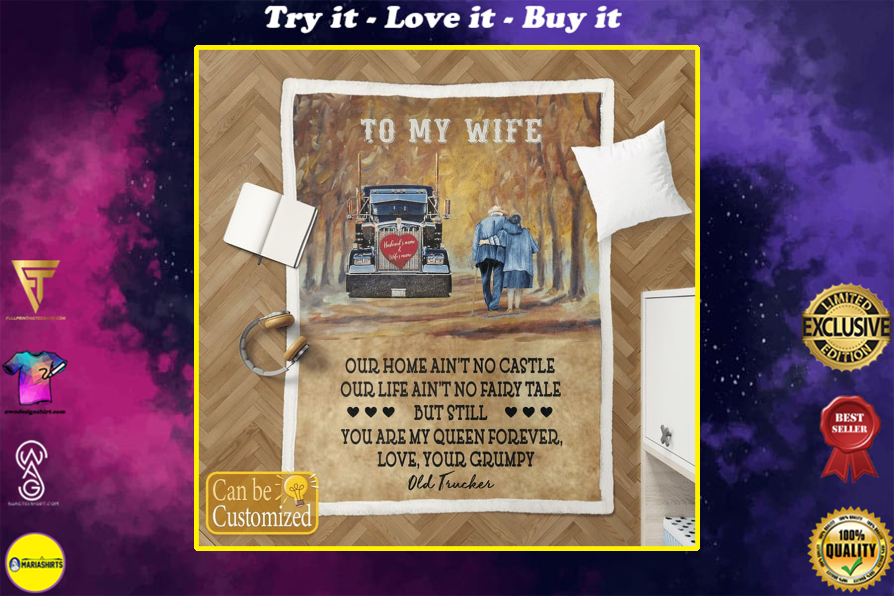 [highest selling] custome name to my wife you are my queen forever your grumpy old trucker blanket - maria