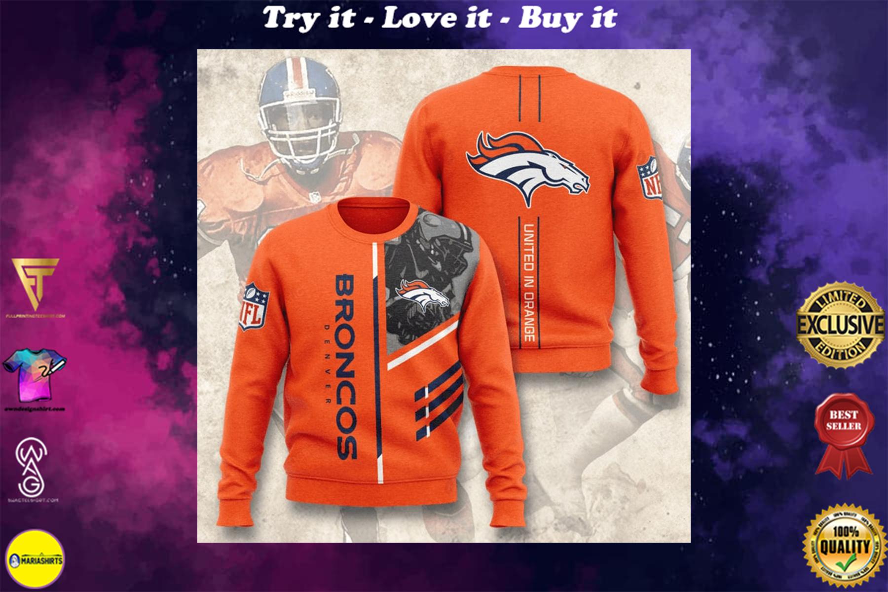 [highest selling] denver broncos united in orange full printing ugly sweater - maria