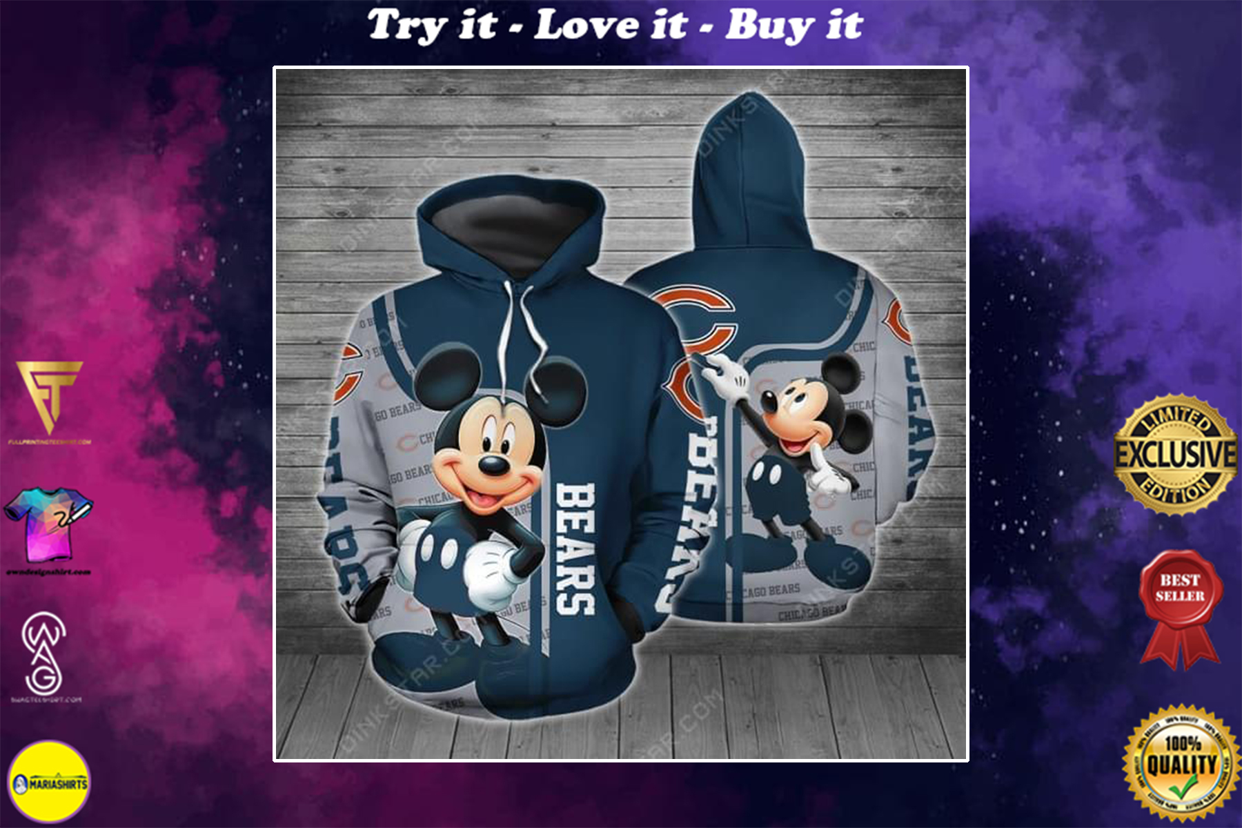 [highest selling] disney mickey mouse chicago bears football full over printed shirt - maria