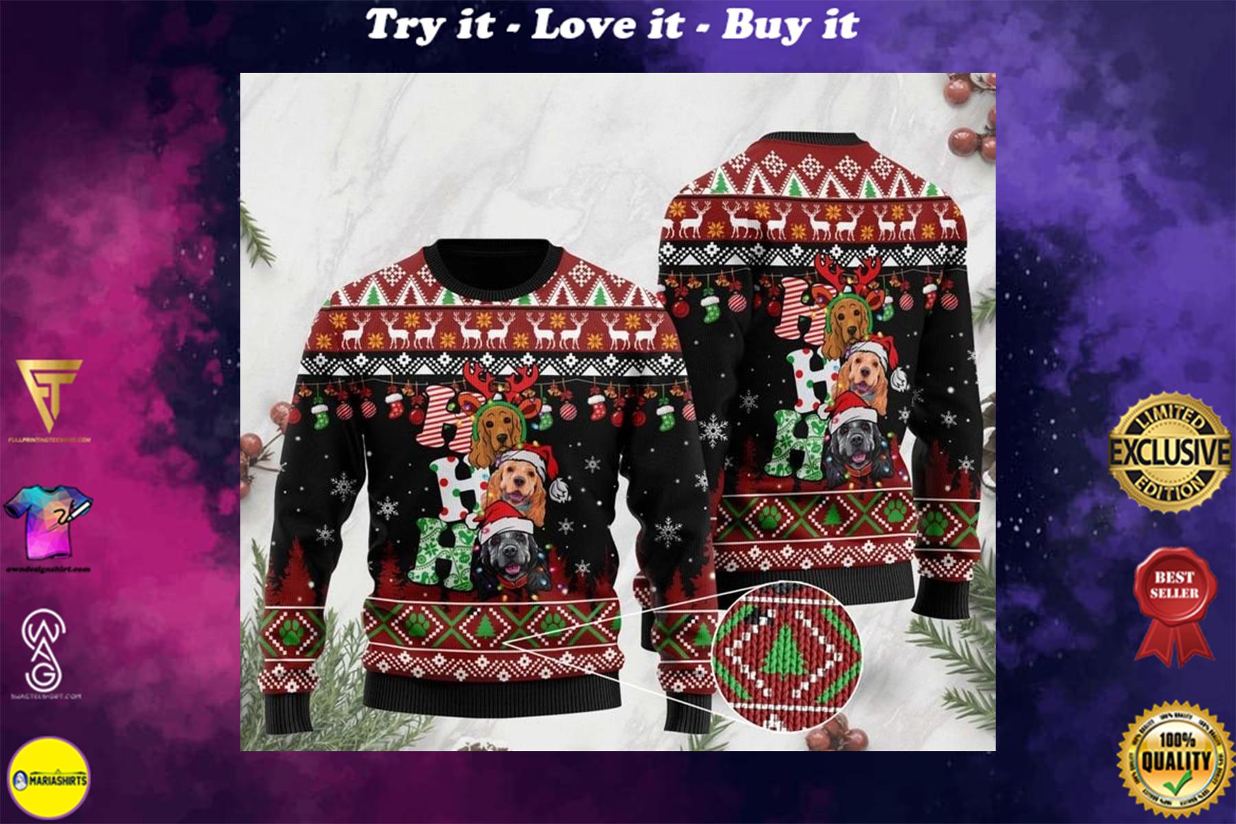 [highest selling] dog lover cocker spaniel ho ho ho christmas ugly sweater - maria