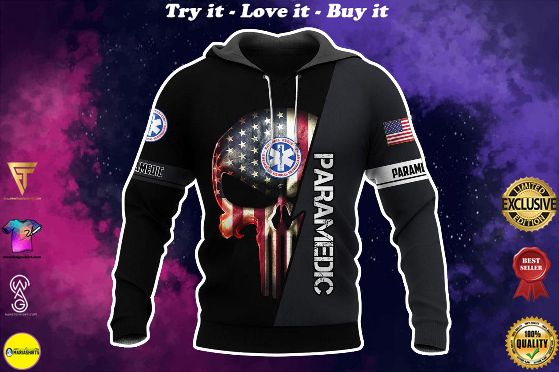 [highest selling] emt paramedic skull american flag full over printed shirt - maria