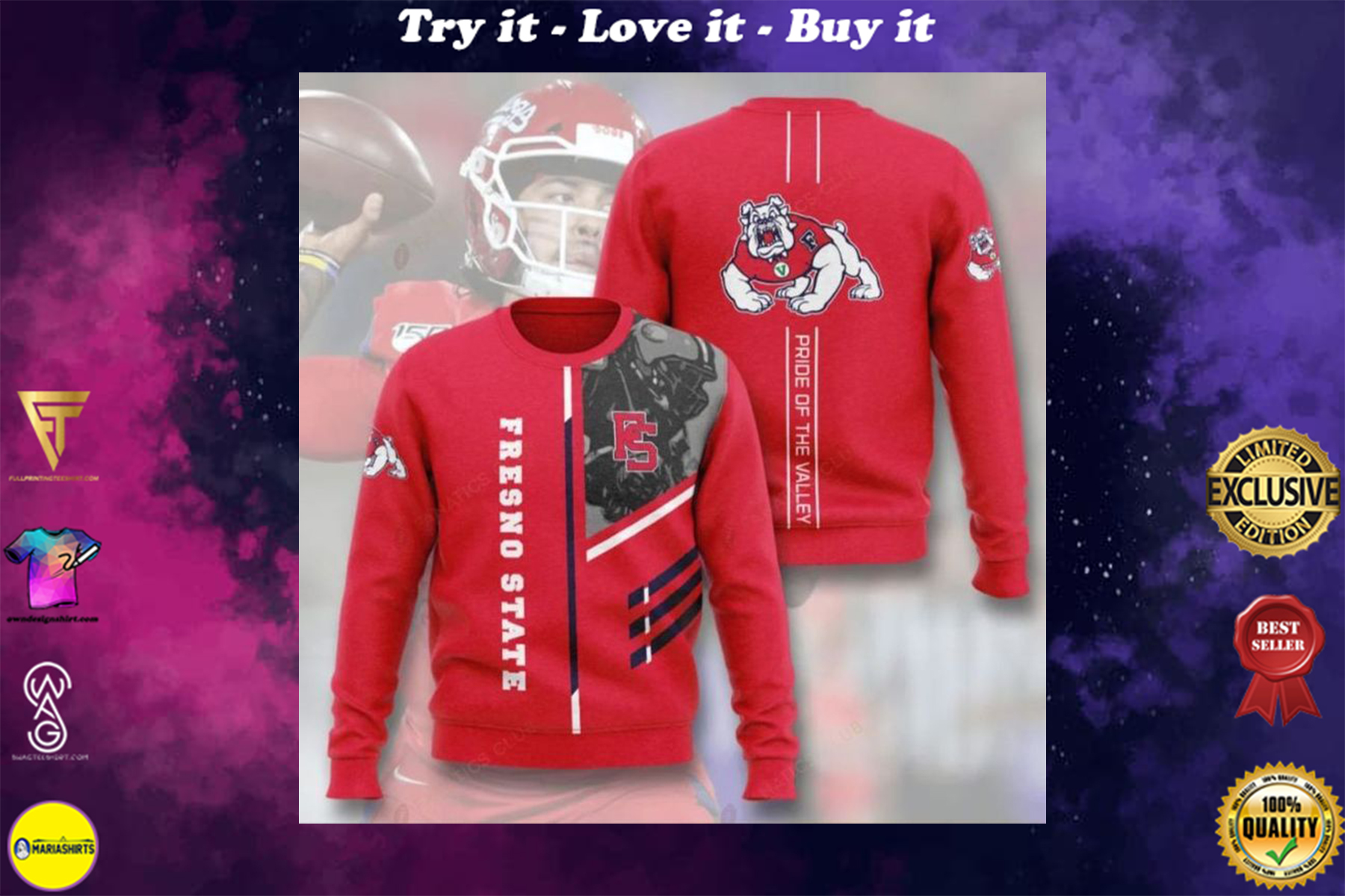 [highest selling] fresno state bulldogs football pride of the valley full printing ugly sweater - maria