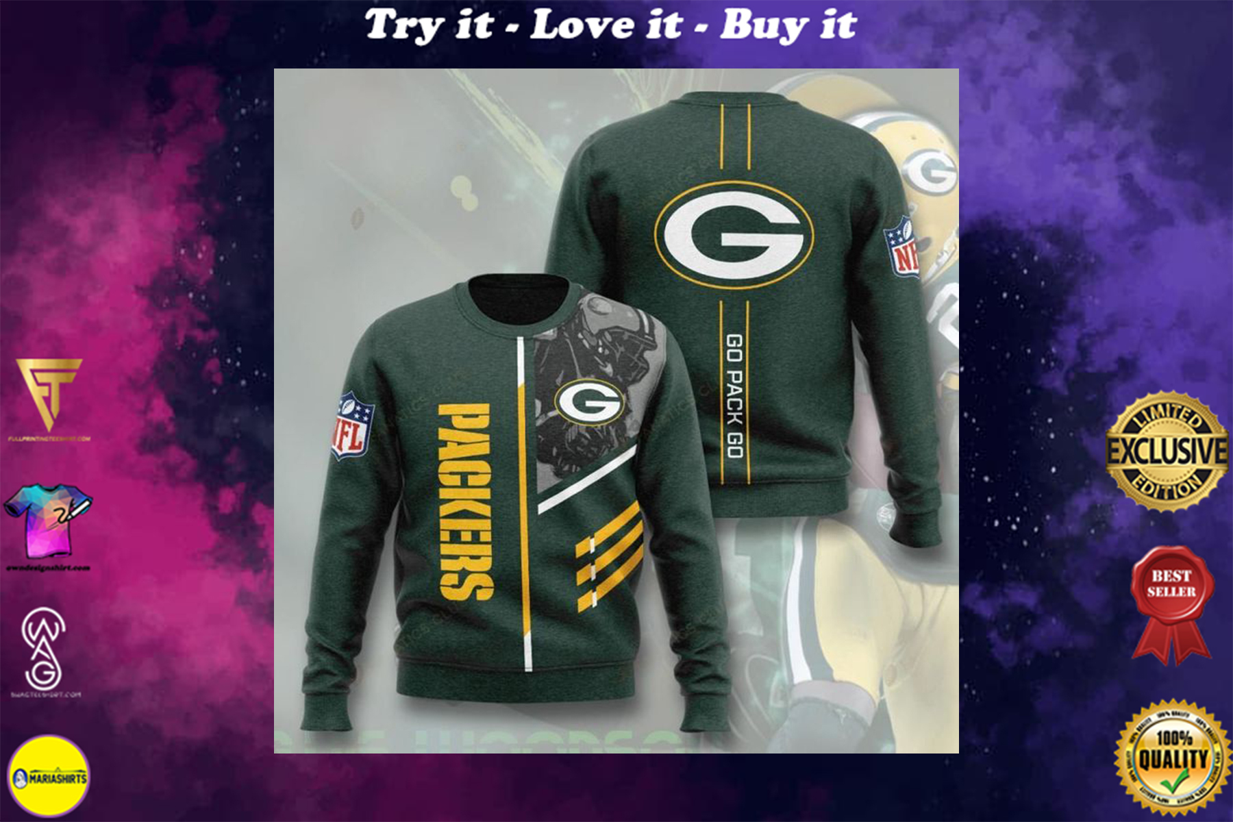 [highest selling] green bay packers go pack go full printing ugly sweater - maria