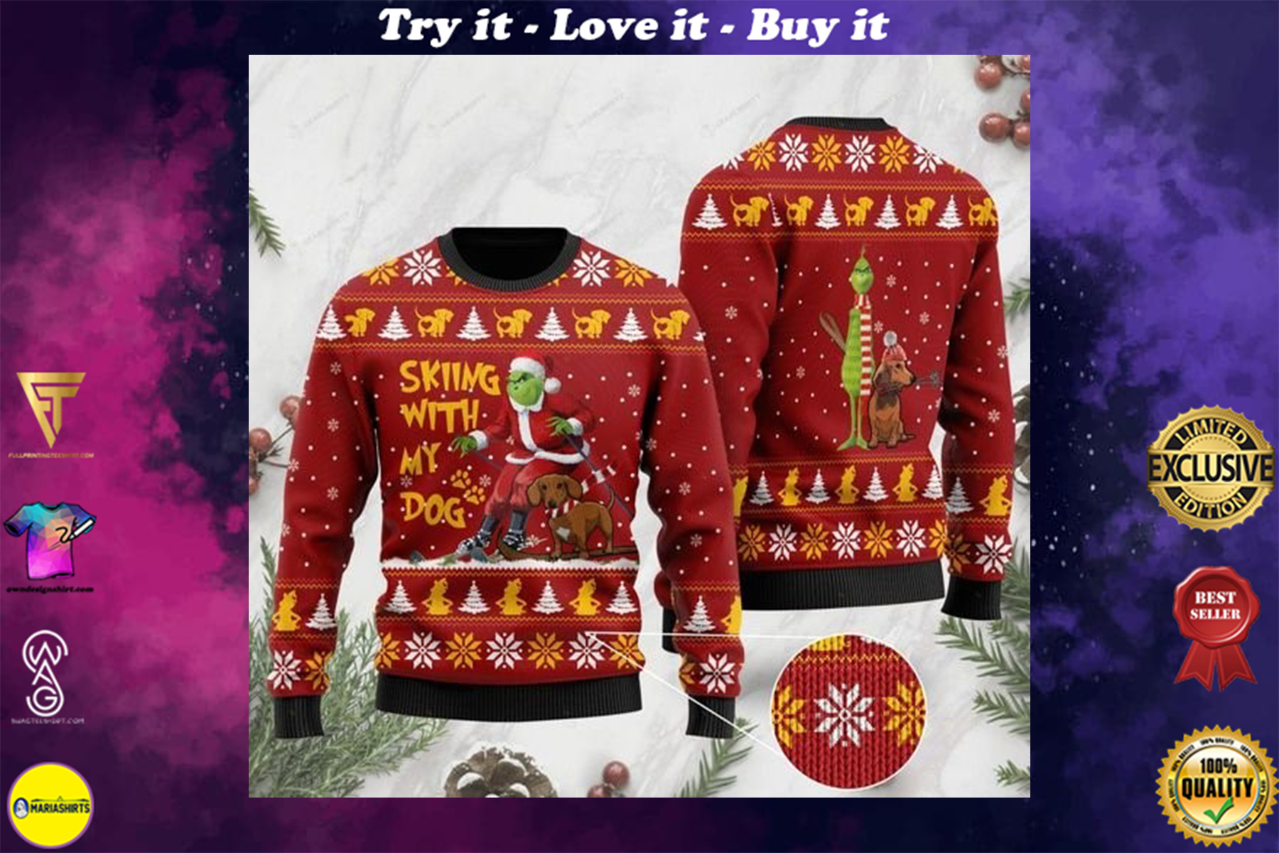 [highest selling] grinch and dachshund skiing with my dog christmas ugly sweater - maria