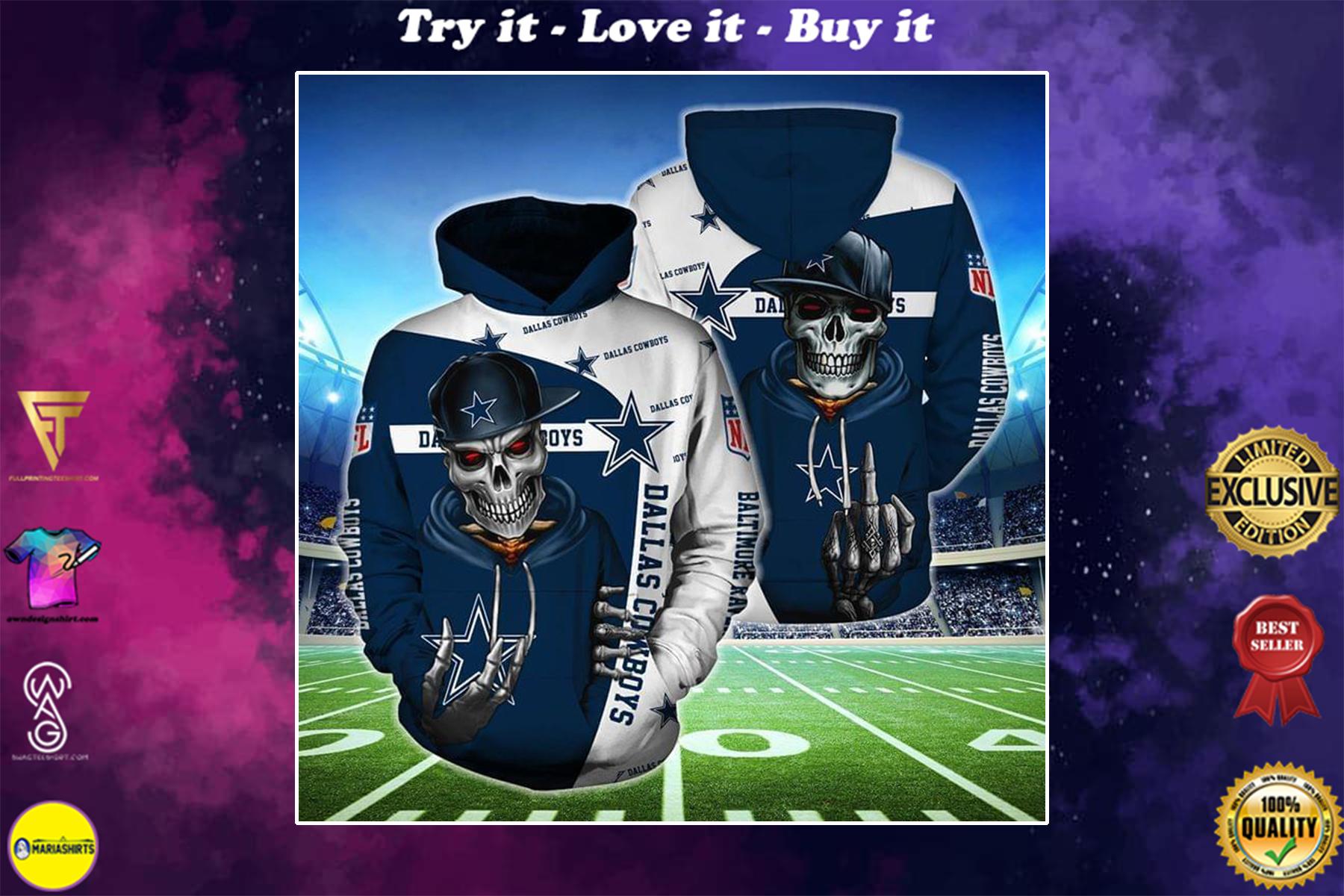 [highest selling] hip hop skull dallas cowboys football team full over printed shirt - maria