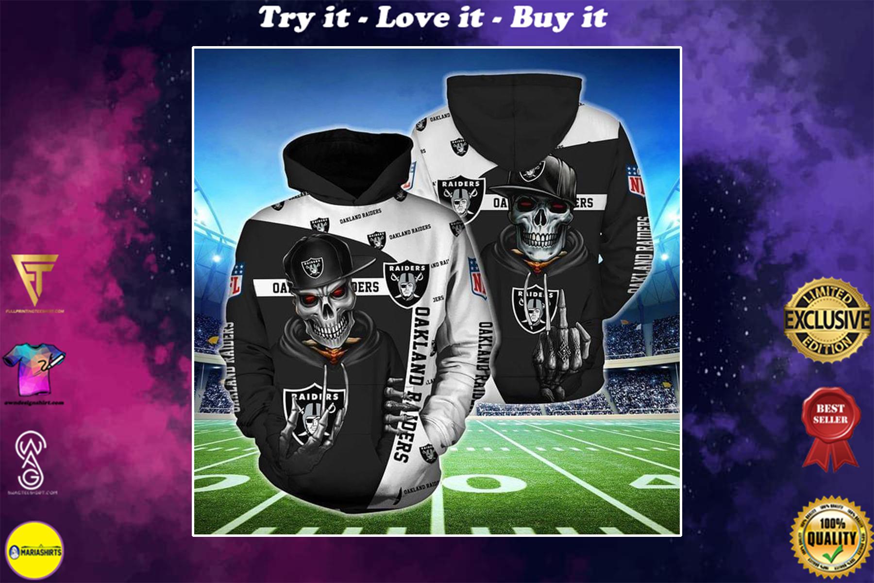 [highest selling] hip hop skull oakland raiders football team full over printed shirt - maria