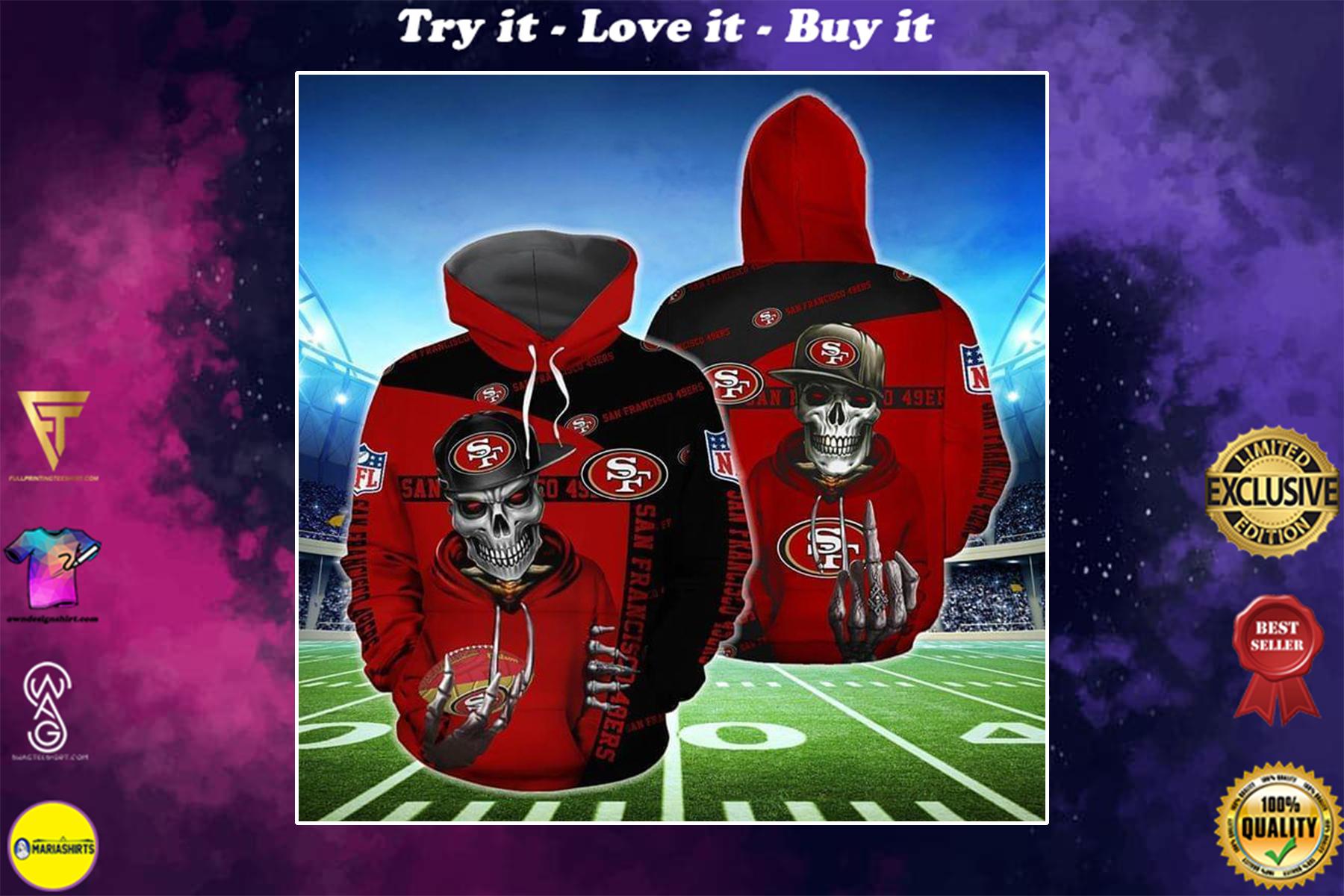 [highest selling] hip hop skull san francisco 49ers football team full over printed shirt - maria
