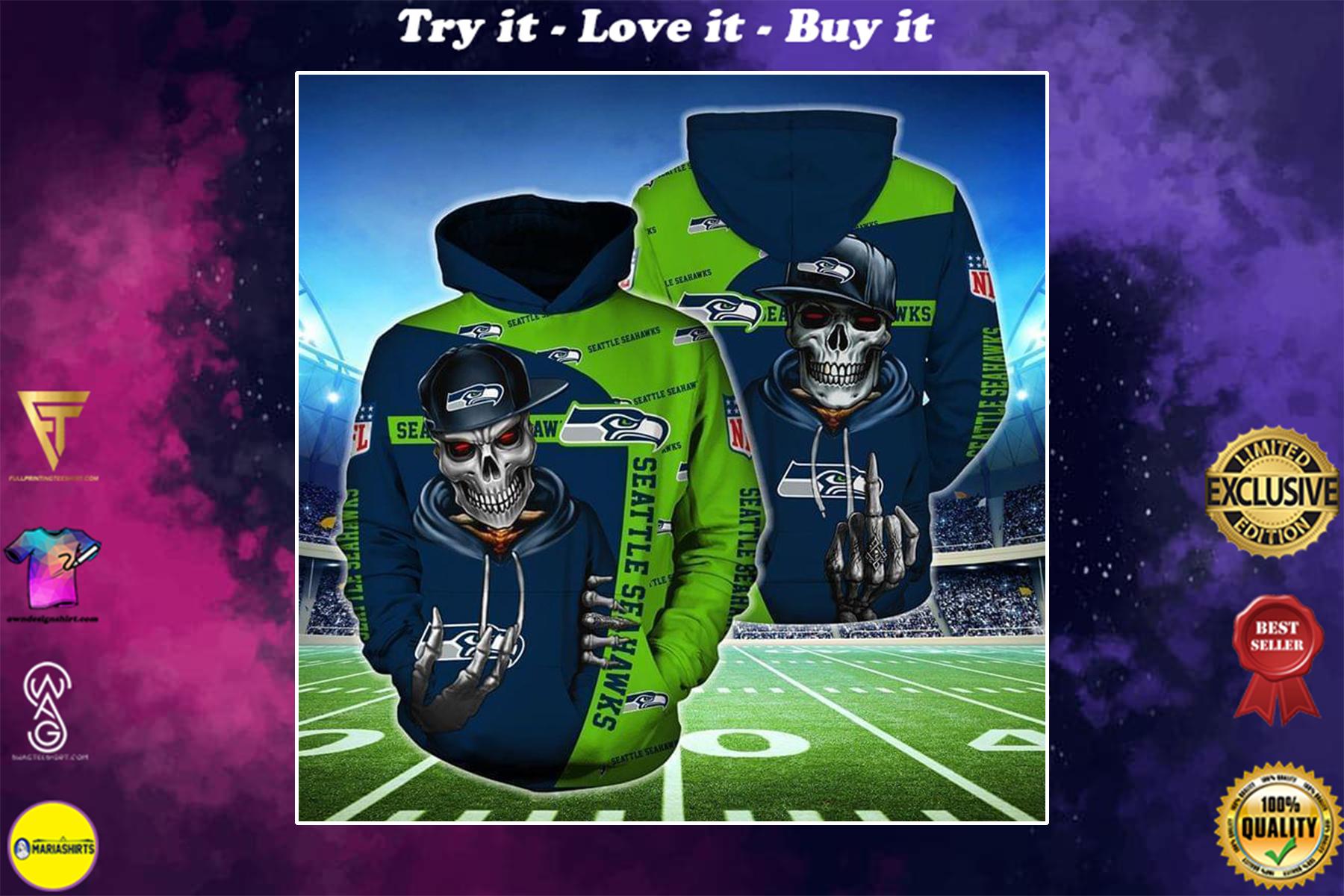 [highest selling] hip hop skull seattle seahawks football team full over printed shirt - maria