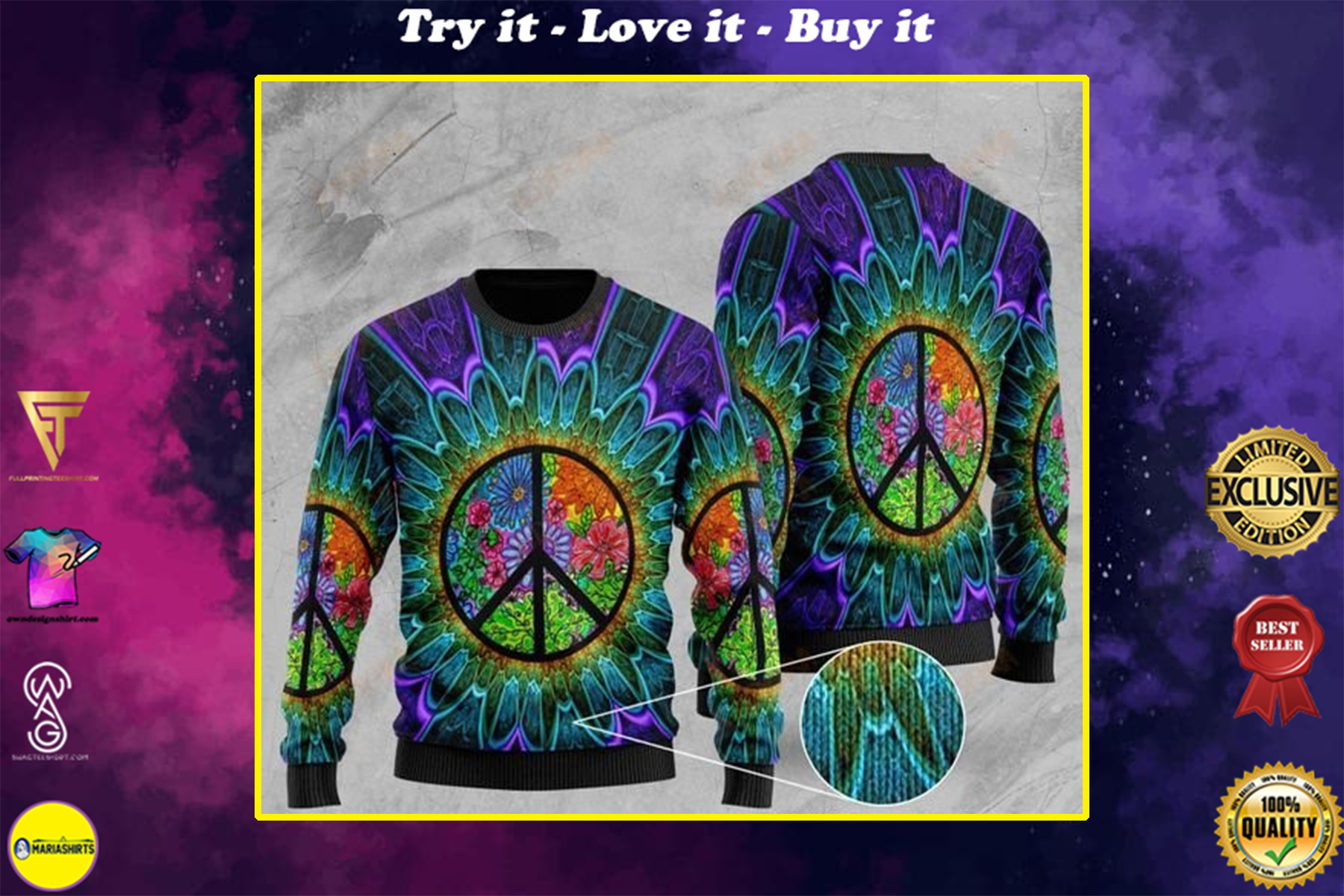 [highest selling] hippie symbol tie dye pattern full printing christmas ugly sweater - maria