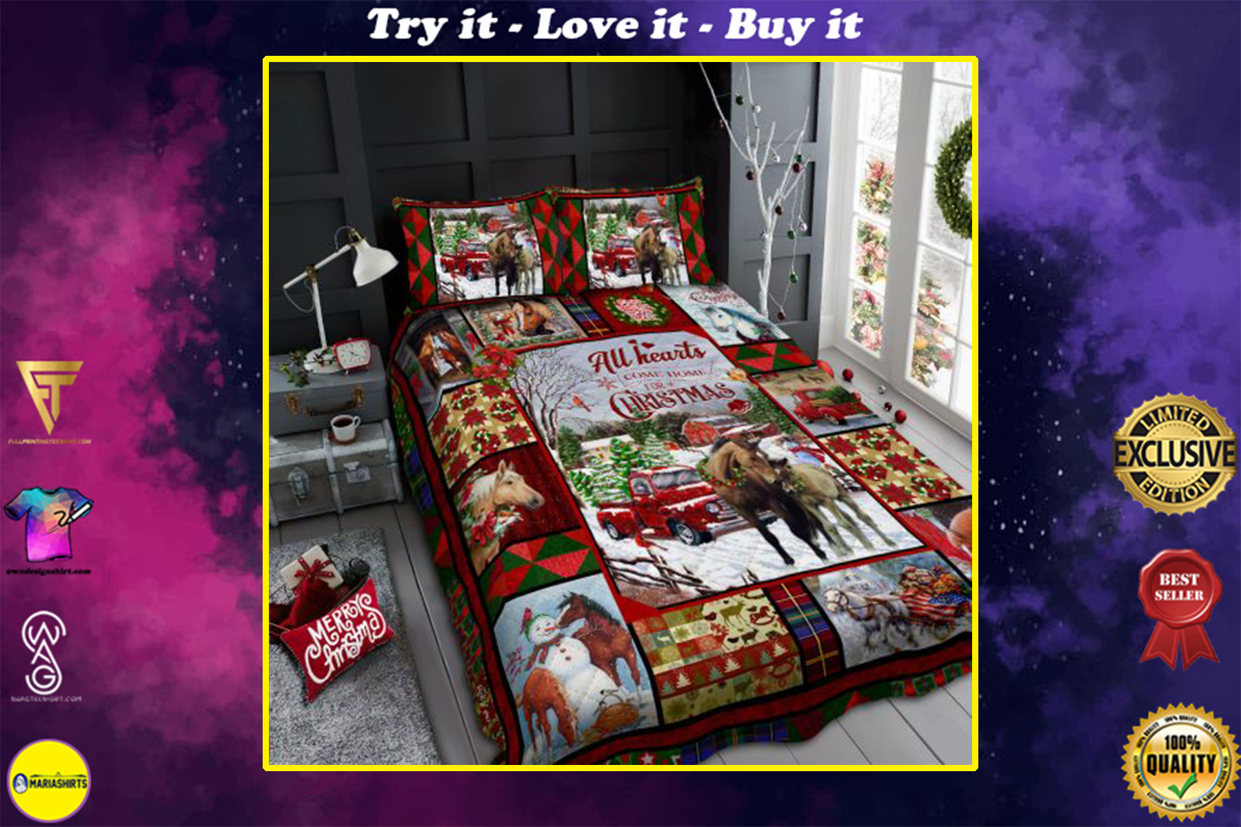 [highest selling] horse all hearts come home for christmas all over print bedding set - maria