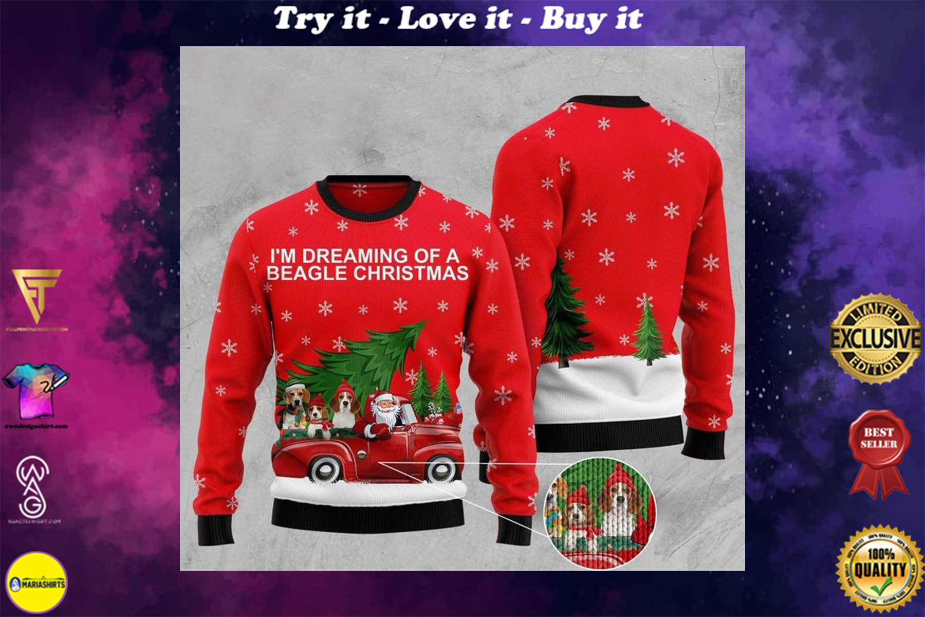 [highest selling] im dreaming of a beagle christmas full printing ugly sweater - maria