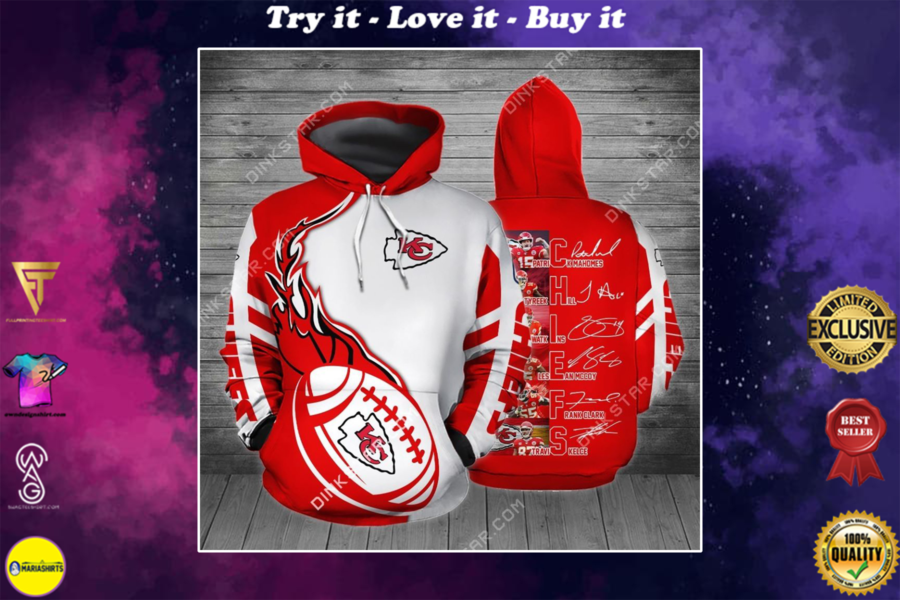 [highest selling] kansas city chiefs member of team signatures full over printed shirt - maria