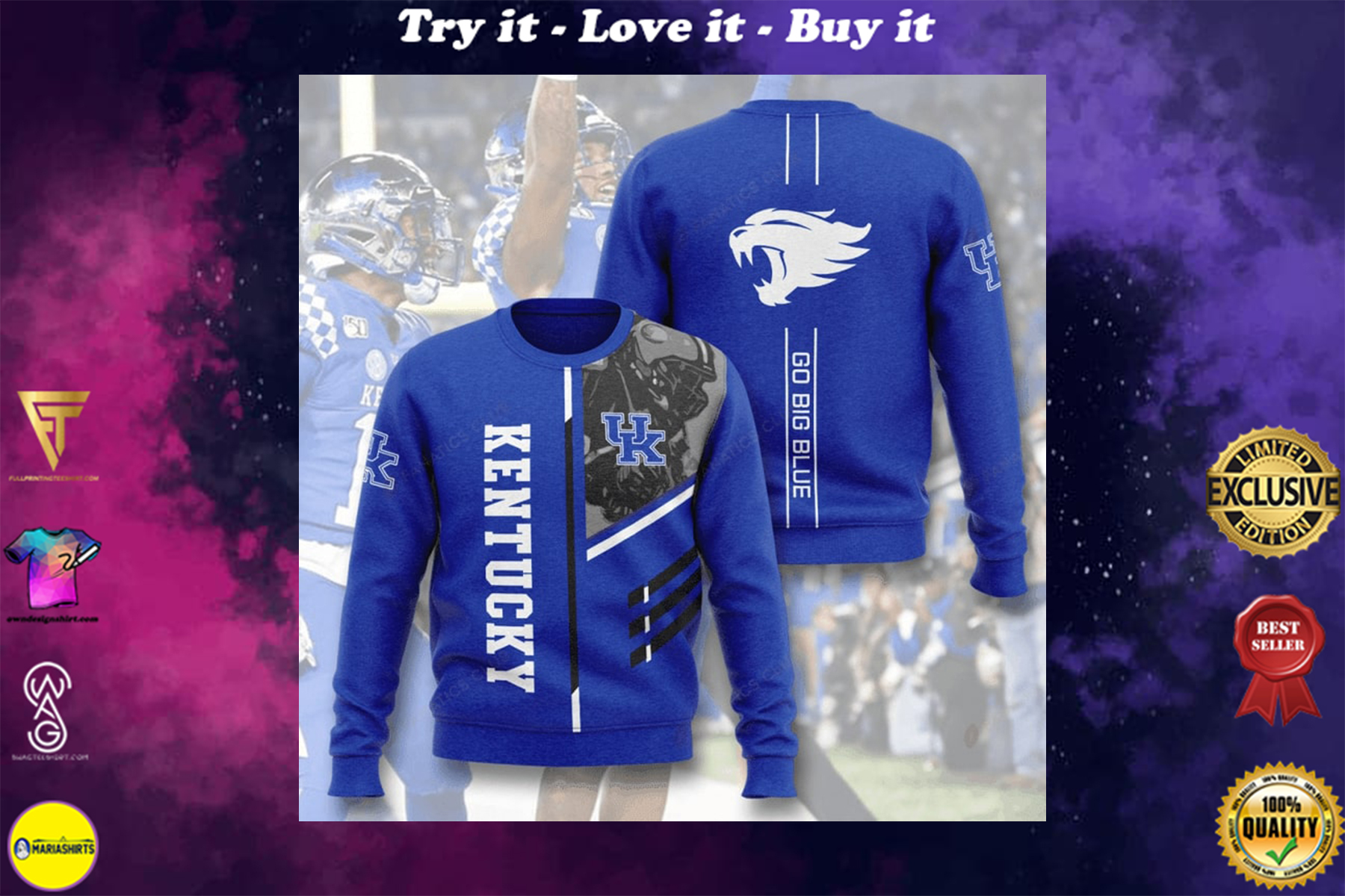 [highest selling] kentucky wildcats go big blue full printing ugly sweater - maria
