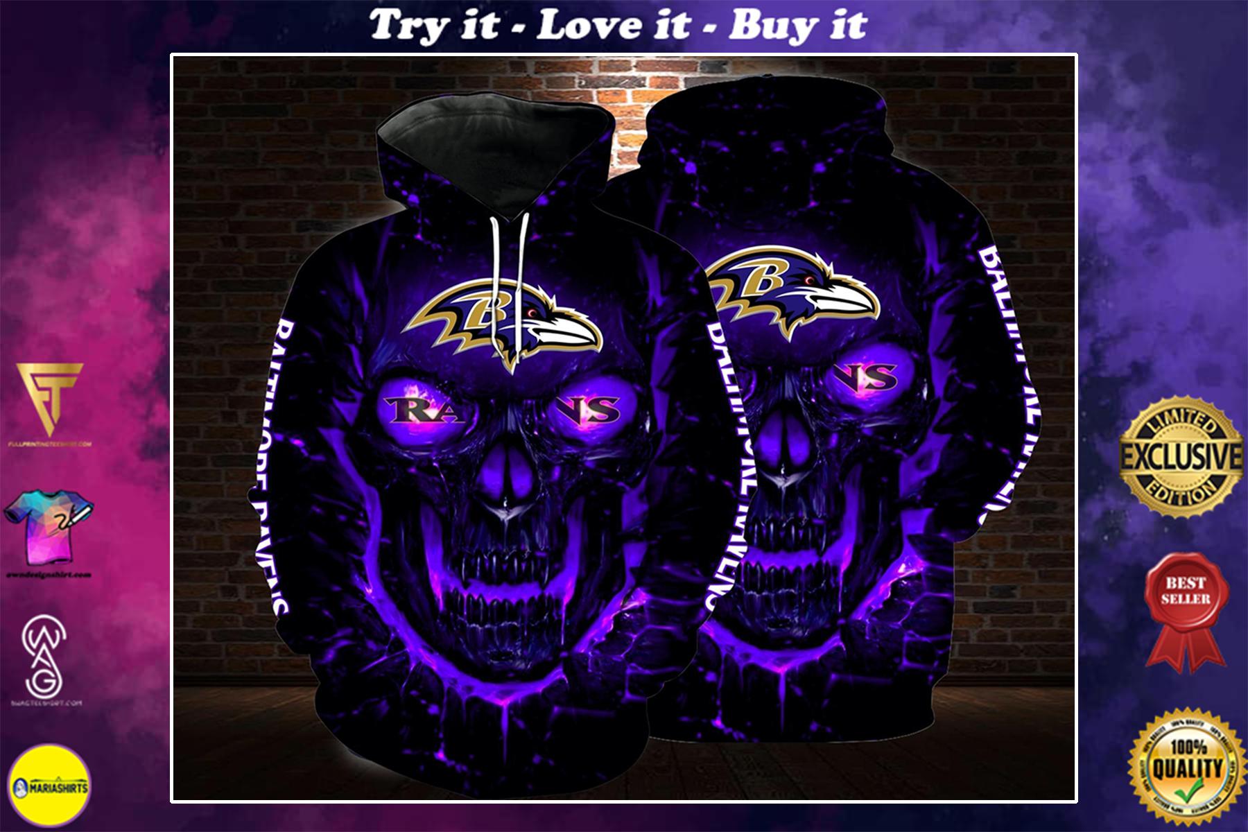 [highest selling] lava skull baltimore ravens football team full over printed shirt - maria