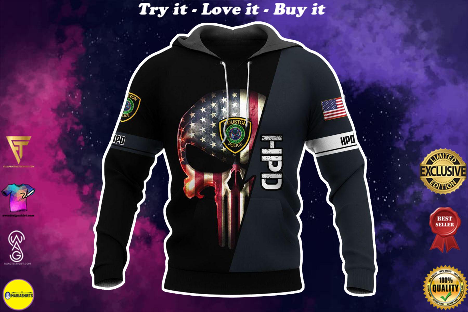 [highest selling] law enforcement houston police department skull full over printed shirt - maria
