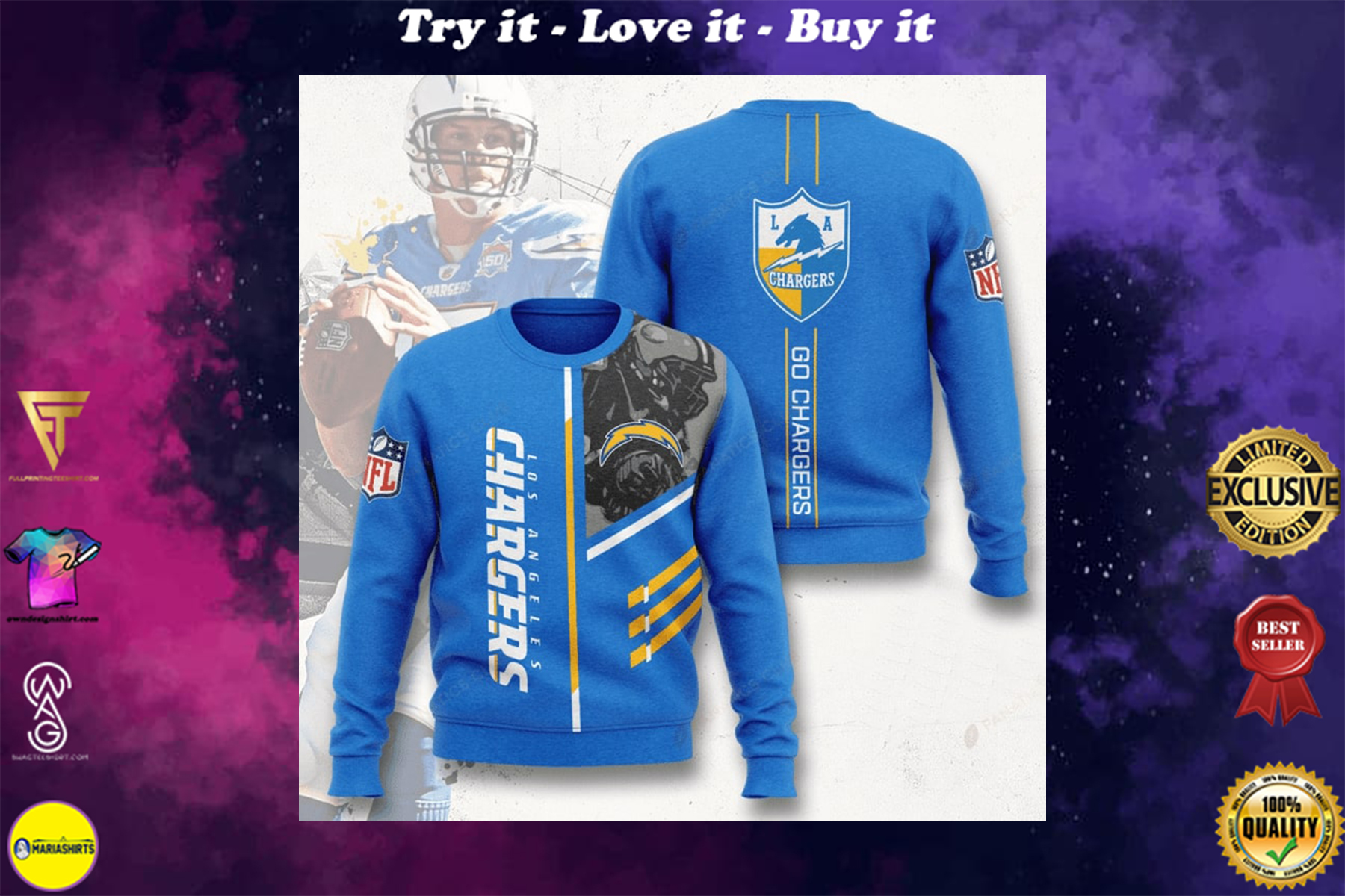 [highest selling] los angeles chargers go chargers full printing ugly sweater - maria
