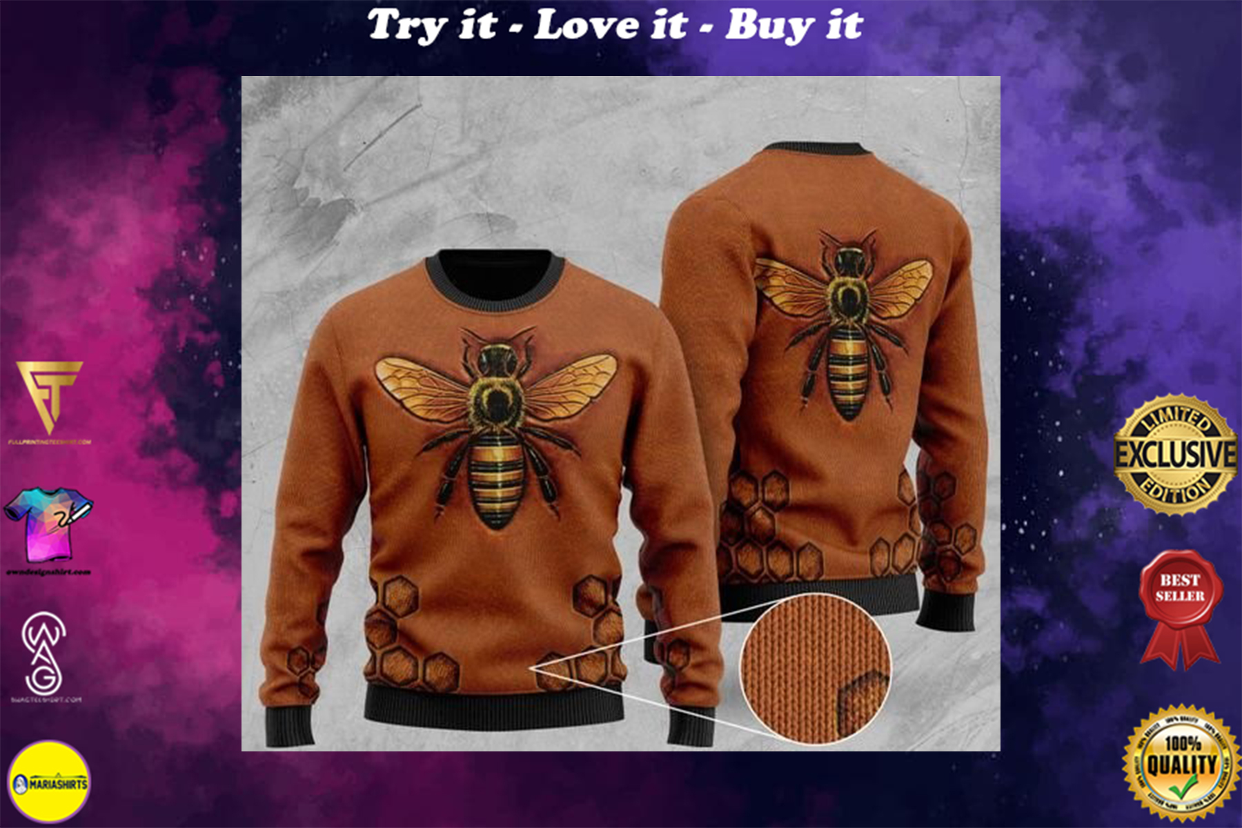 [highest selling] love bee all over printed christmas ugly sweater - maria